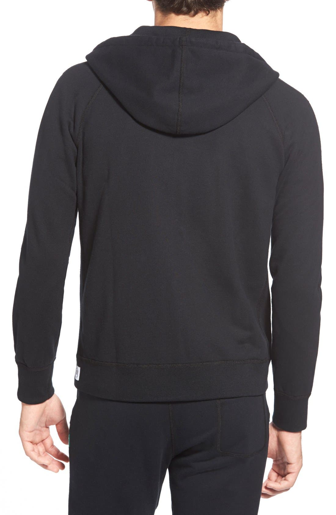 REIGNING CHAMP, Core Zip Front Hoodie, Alternate thumbnail 2, color, BLACK
