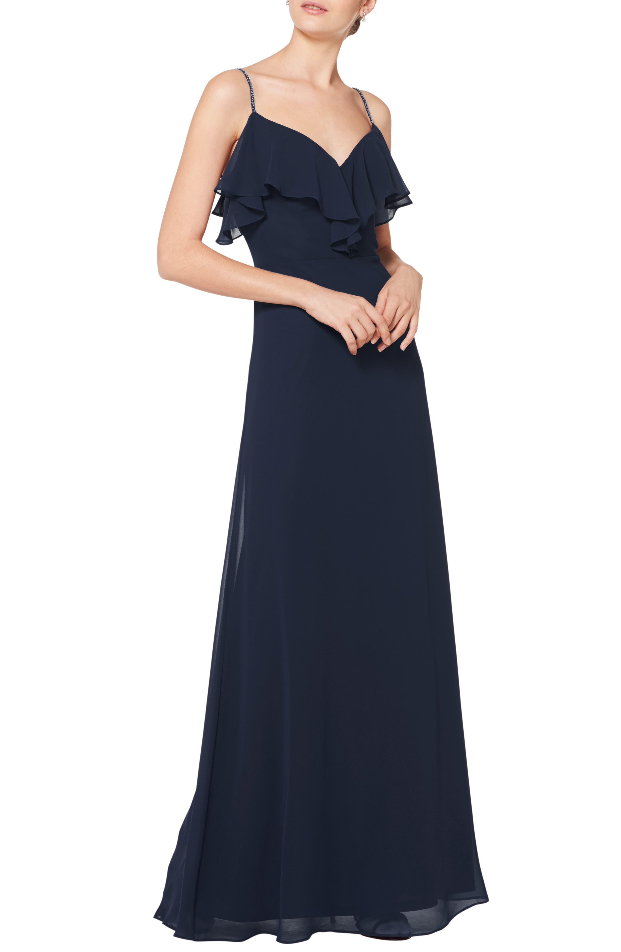 #LEVKOFF Jeweled Strap Ruffle Neck Chiffon Gown, Main, color, NAVY