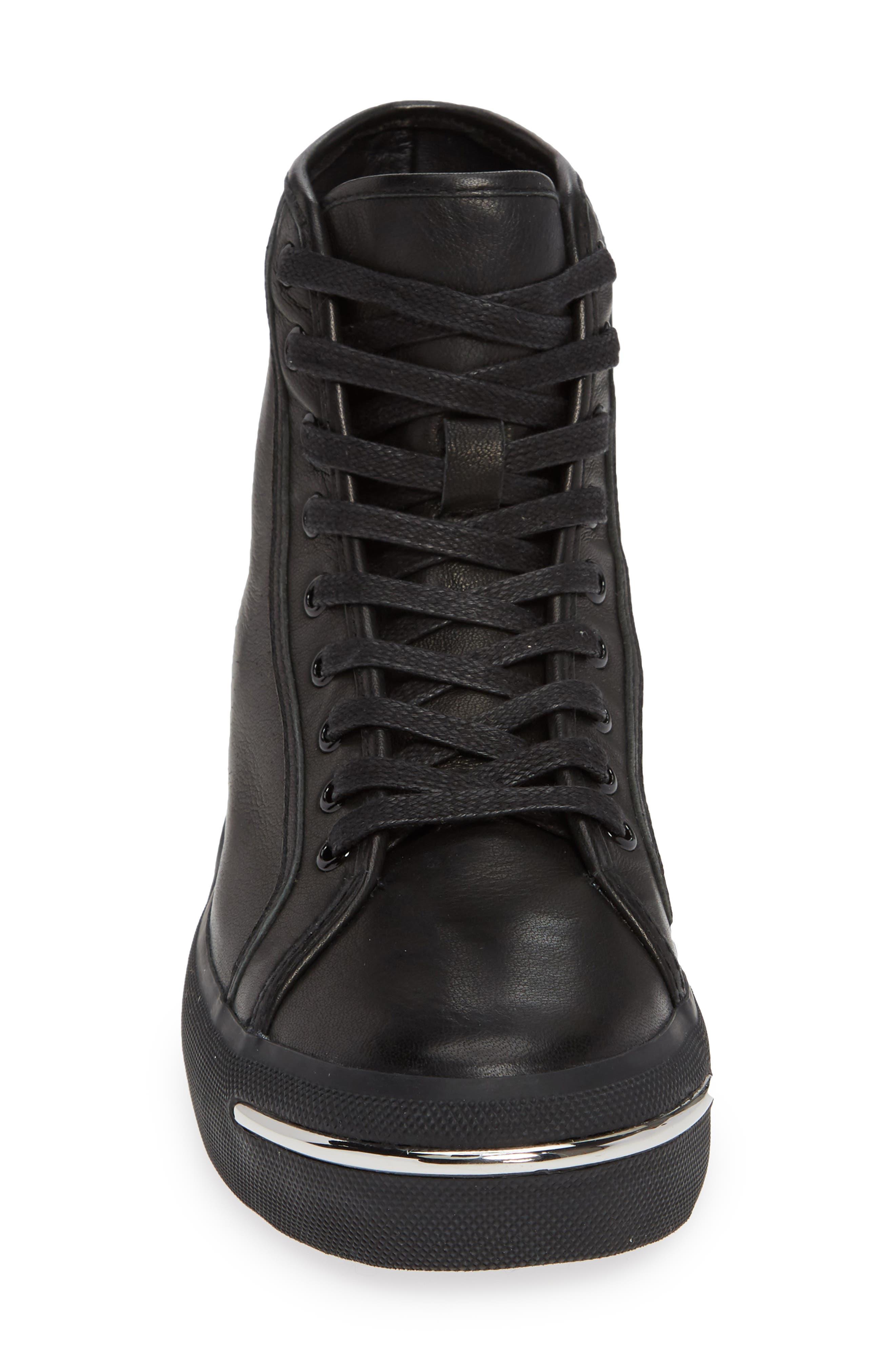 ALEXANDER WANG, Pia High Top Sneaker, Alternate thumbnail 4, color, BLACK