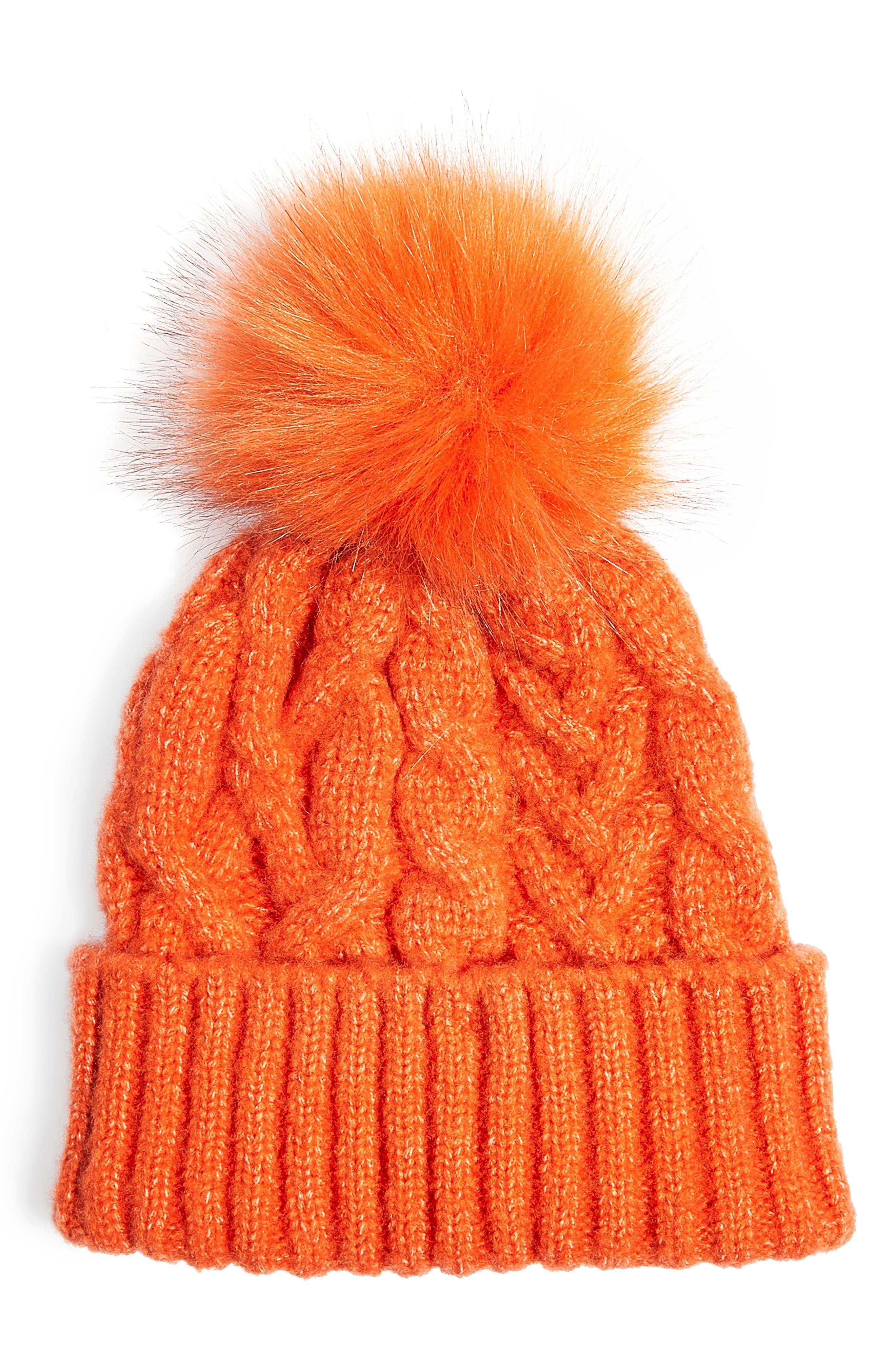 TOPSHOP Faux Fur Pom Beanie, Main, color, 800