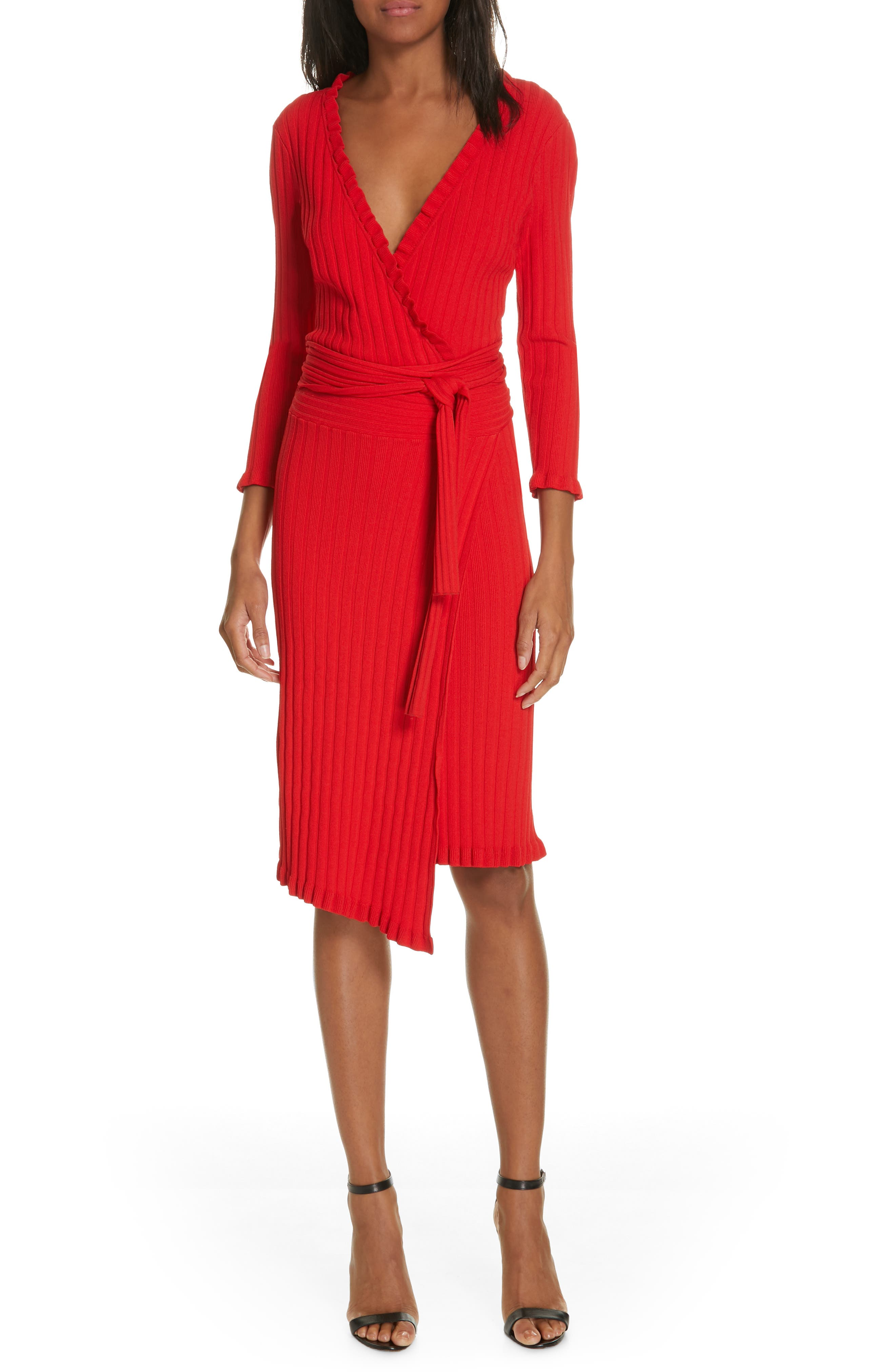 Milly Ruffle Edge Ribbed Wrap Dress, Red