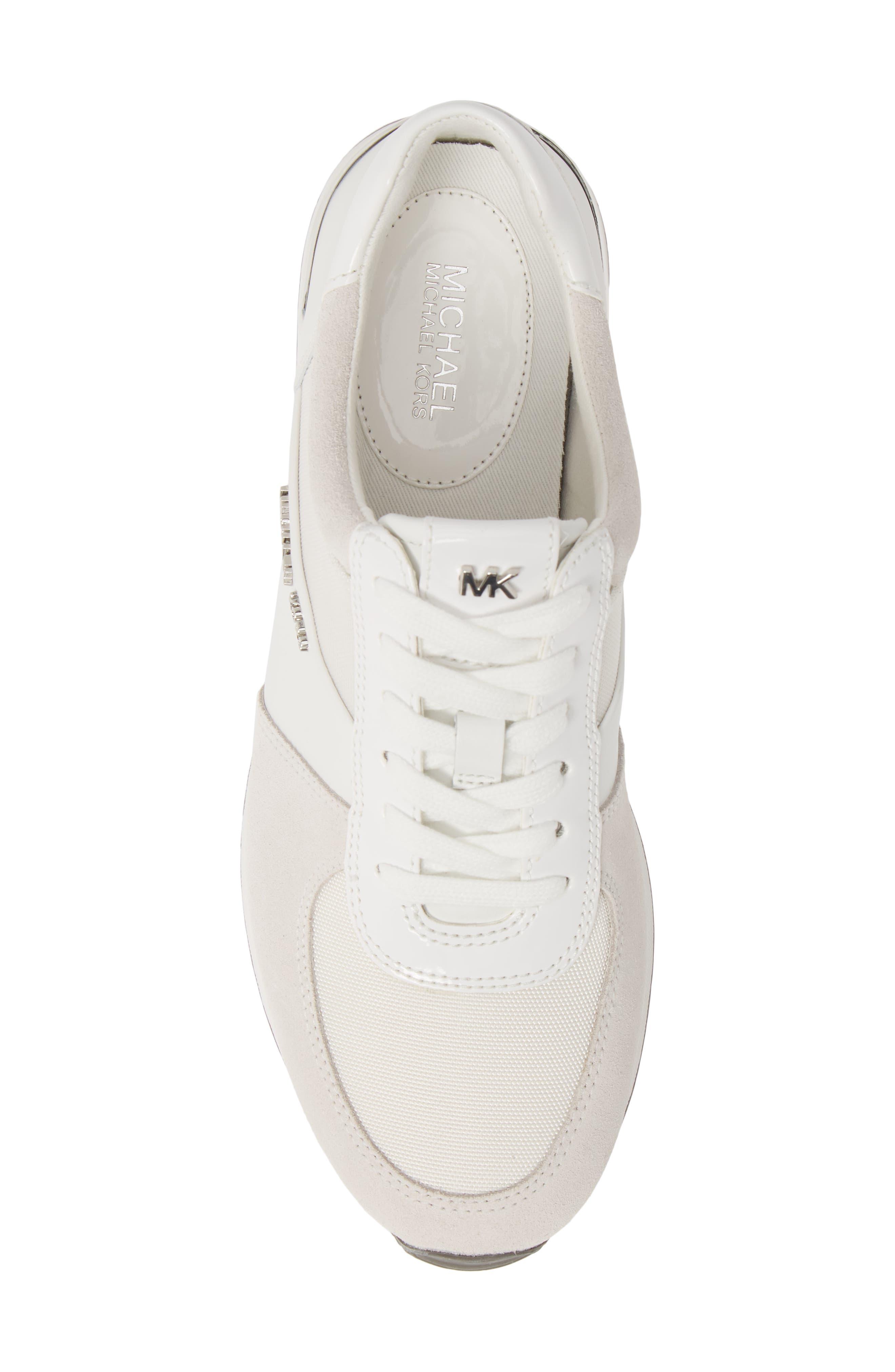 MICHAEL MICHAEL KORS, 'Allie' Sneaker, Alternate thumbnail 5, color, OPTIC WHITE LEATHER/ CANVAS