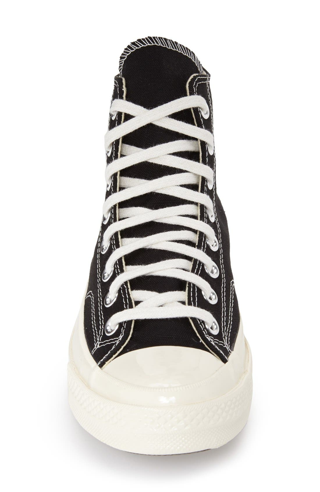 COMME DES GARÇONS, PLAY x Converse Chuck Taylor<sup>®</sup> Hidden Heart High Top Sneaker, Alternate thumbnail 3, color, BLACK CANVAS