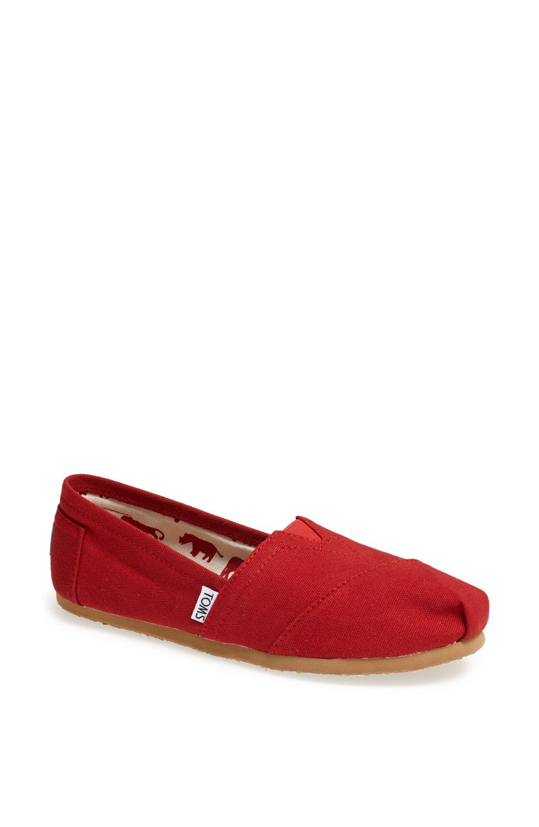 TOMS, Classic Canvas Slip-On, Main thumbnail 1, color, RED