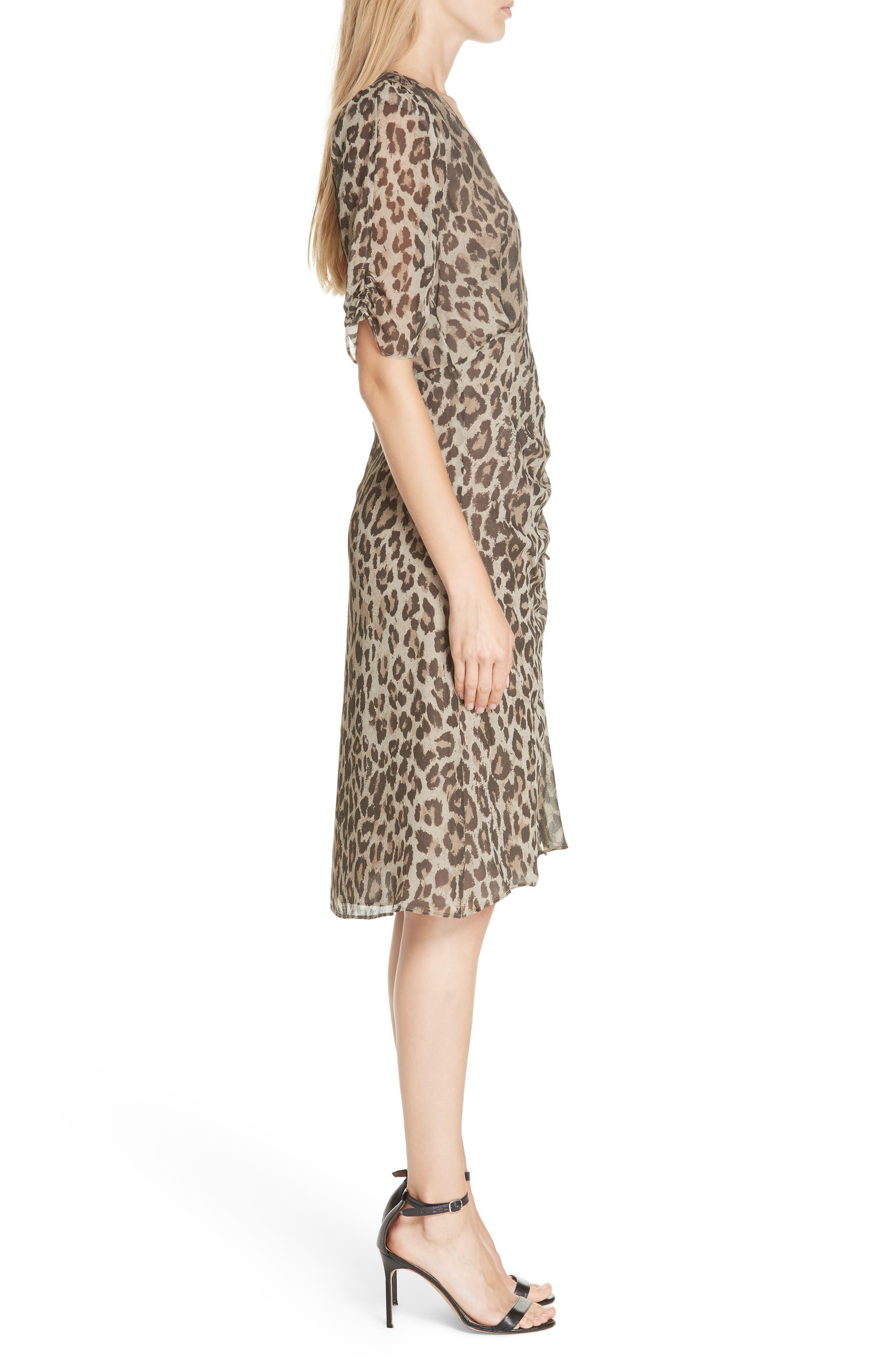 NICHOLAS, Ruched Leopard Print Silk Dress, Alternate thumbnail 3, color, 200