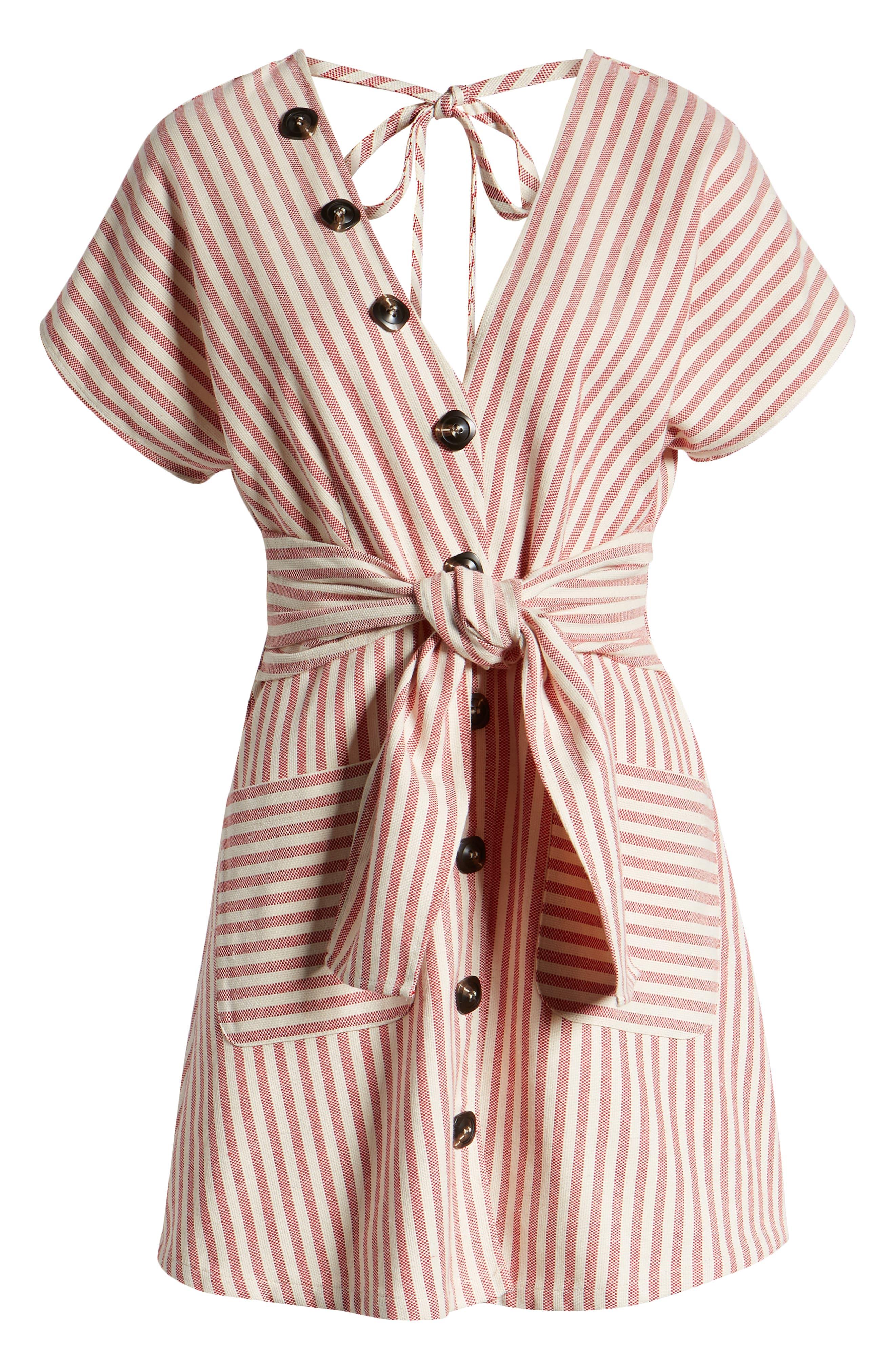 MOON RIVER, Button Detail Stripe Minidress, Alternate thumbnail 6, color, RED STRIPE