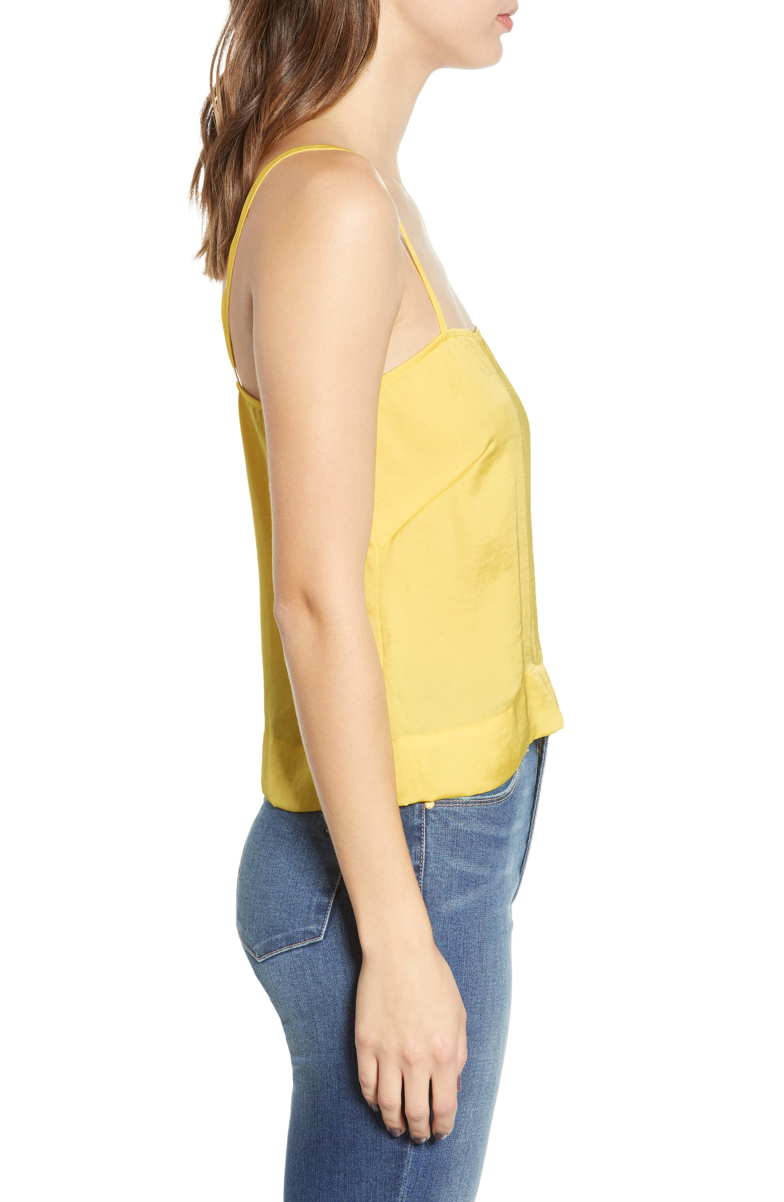 LEITH, Fluid Strappy Satin Camisole, Alternate thumbnail 3, color, YELLOW MERINGUE