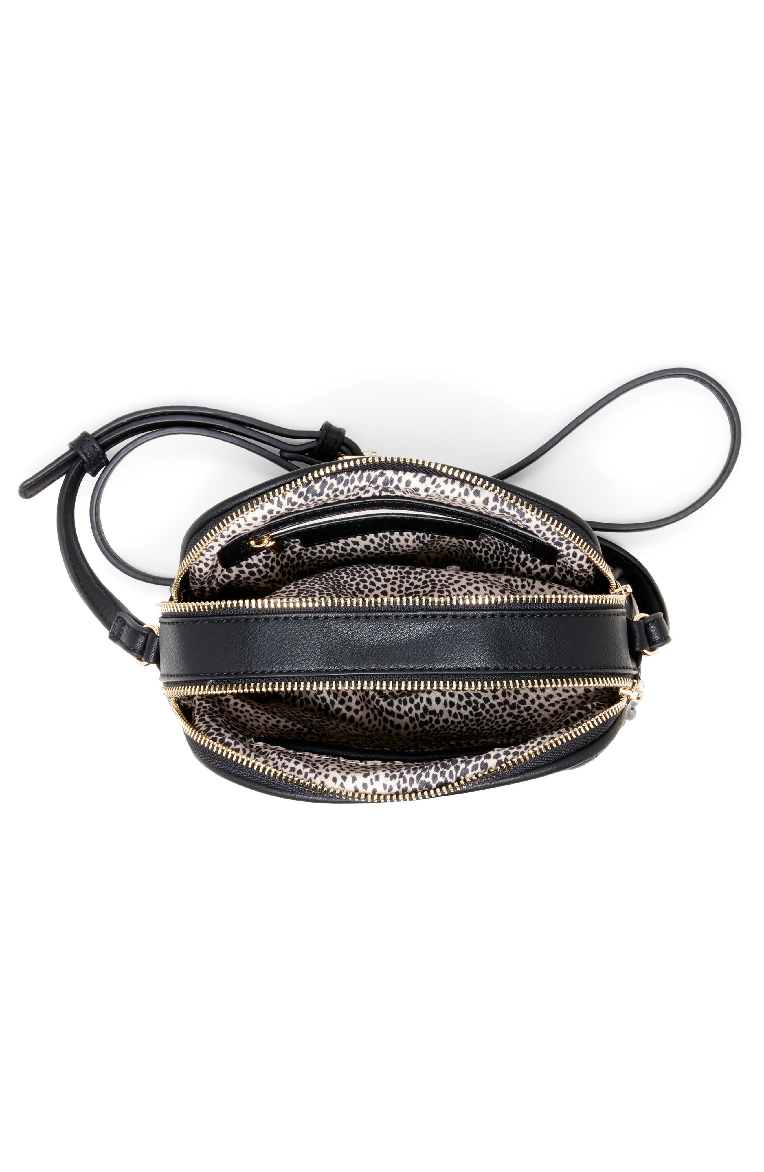 SOLE SOCIETY, Linza Faux Leather Crossbody Bag, Alternate thumbnail 3, color, BLACK/ CREAM