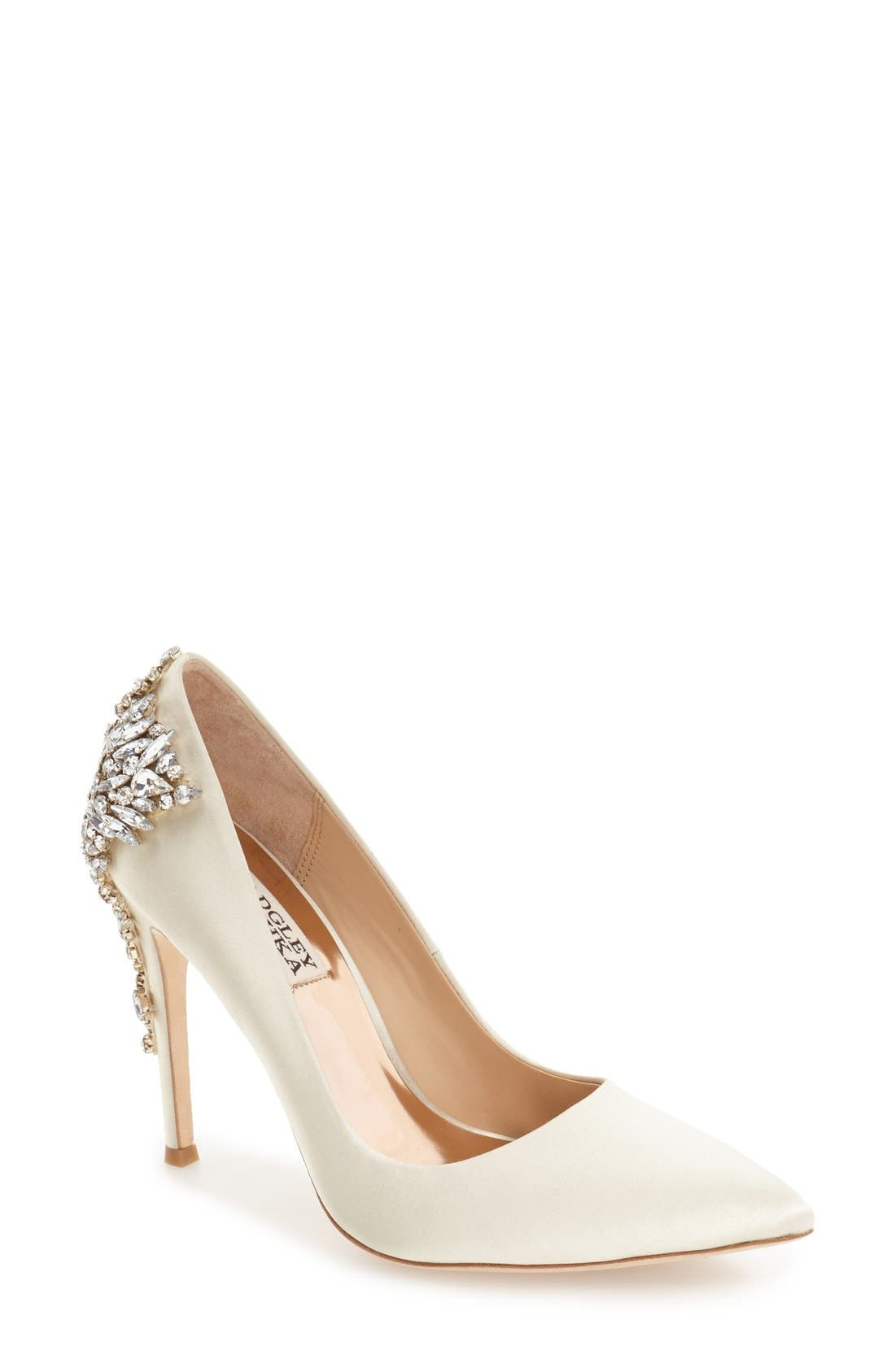 BADGLEY MISCHKA COLLECTION, Badgley Mischka 'Gorgeous' Crystal Embellished Pointy Toe Pump, Main thumbnail 1, color, IVORY SATIN