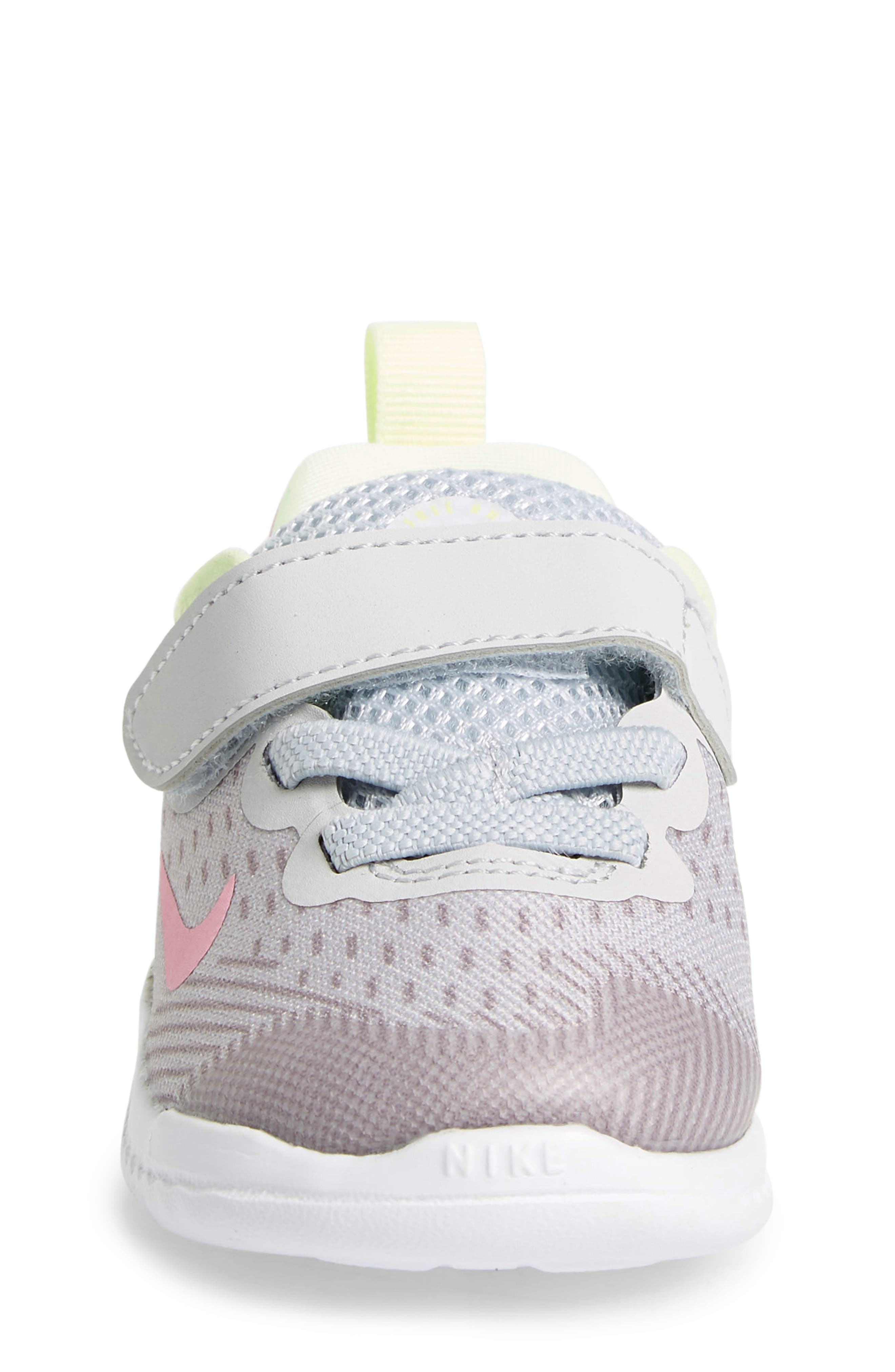 NIKE, Free RN Running Shoe, Alternate thumbnail 4, color, PURE PLATINUM/ PINK RISE-VOLT
