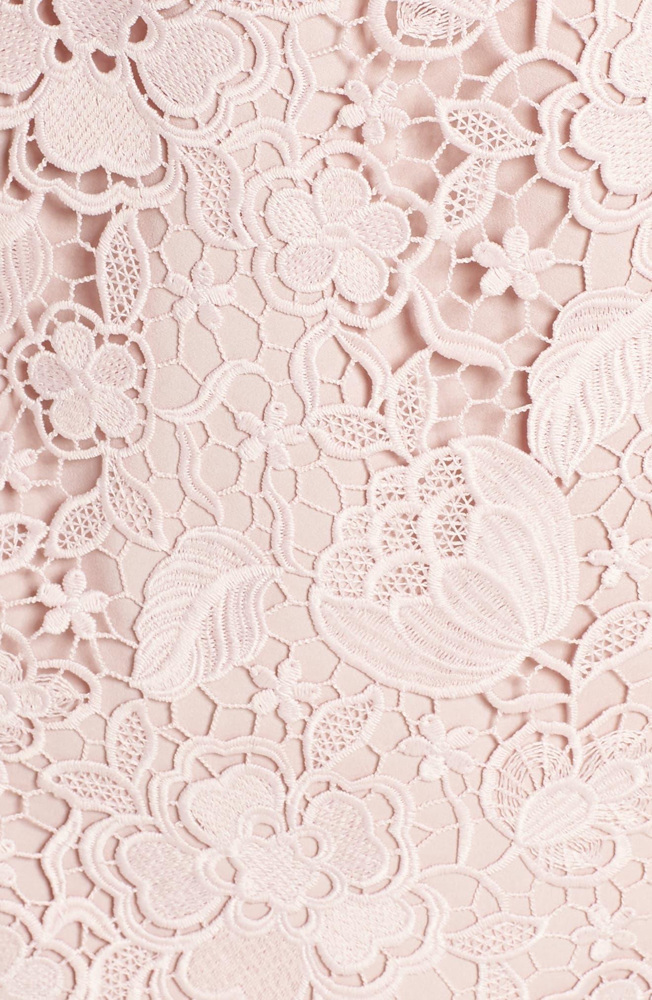ELIZA J, Embroidered Lace Sheath Dress, Alternate thumbnail 6, color, NUDE