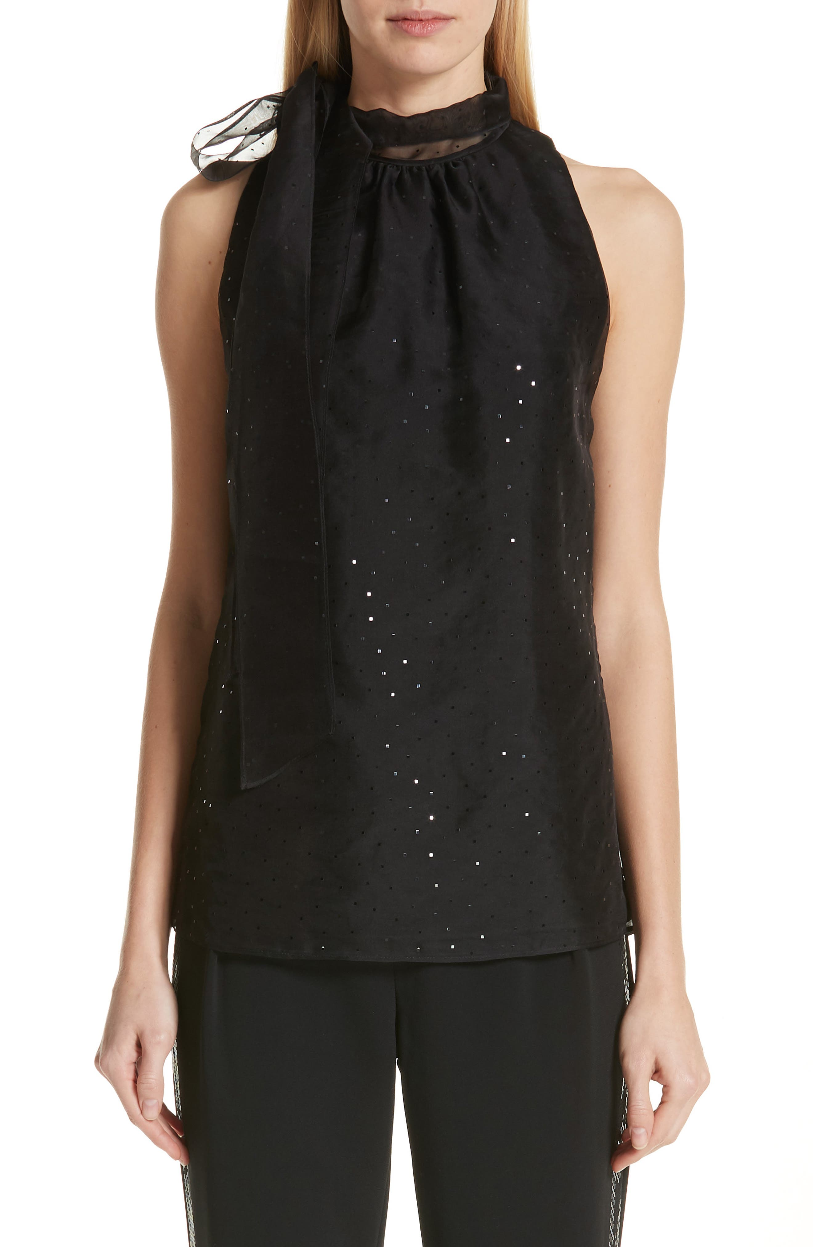 ST. JOHN COLLECTION, Sequin Silk Organza Tank, Main thumbnail 1, color, CAVIAR