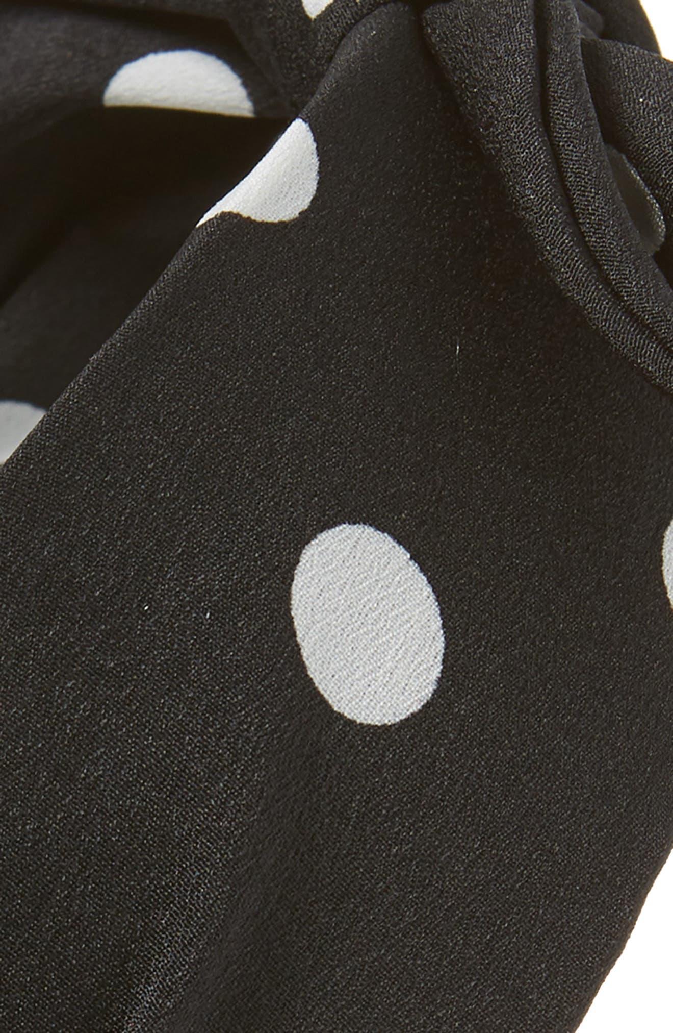 TASHA, Polka Dot Bow Headband, Alternate thumbnail 2, color, BLACK