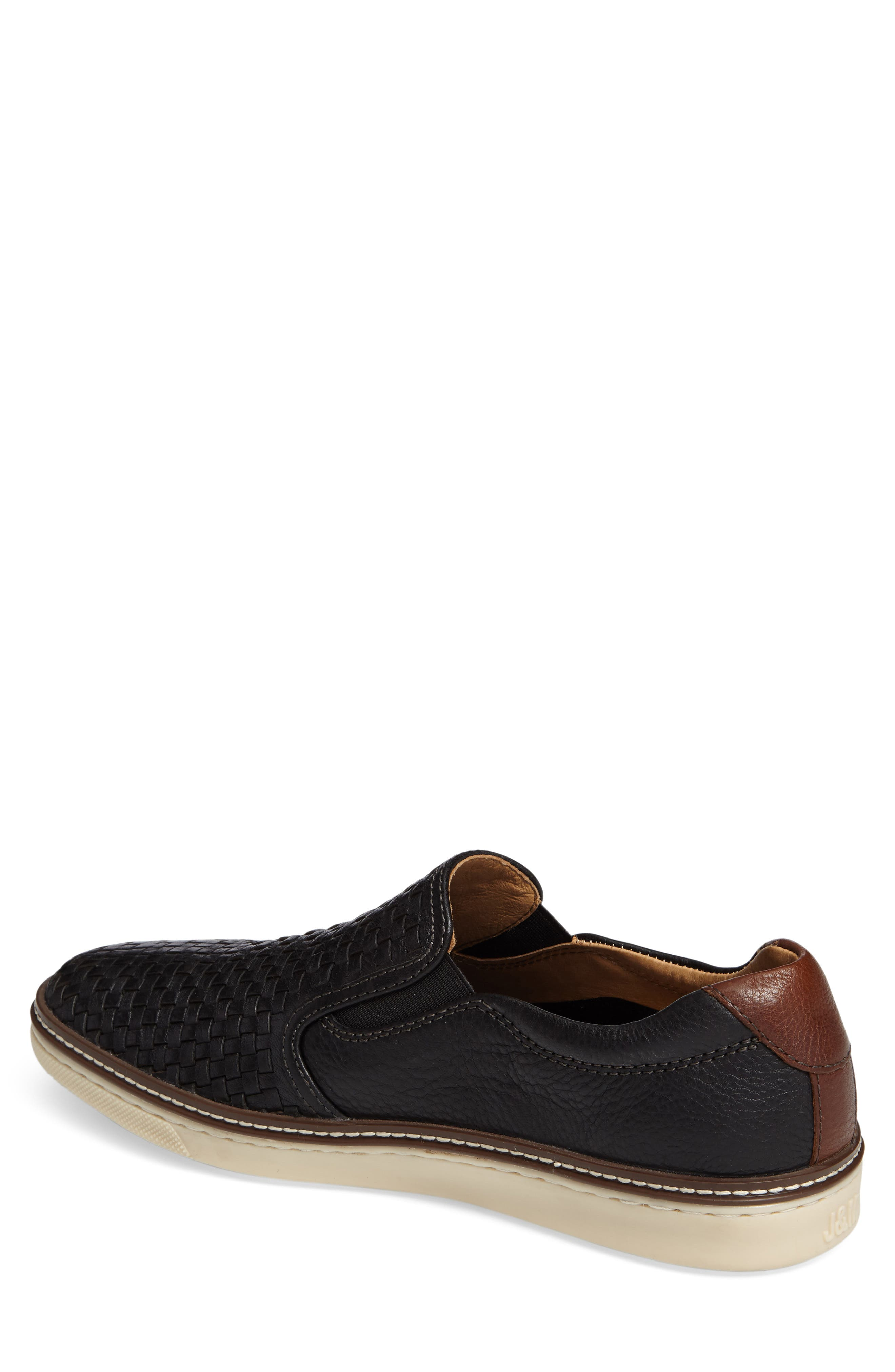JOHNSTON & MURPHY, McGuffey Woven Slip-On Sneaker, Alternate thumbnail 2, color, BLACK LEATHER