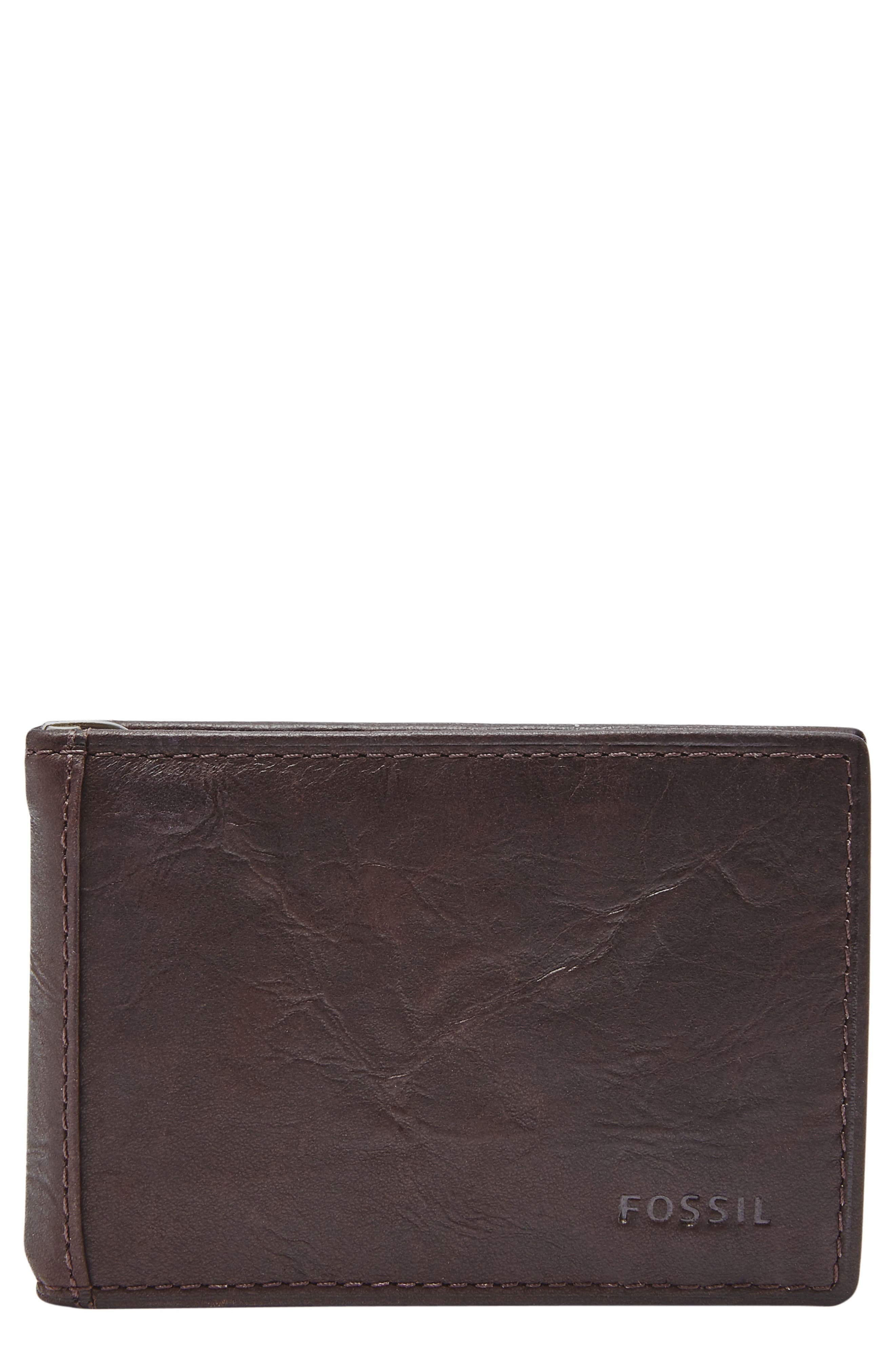 FOSSIL Neel Leather Money Clip Wallet, Main, color, BROWN