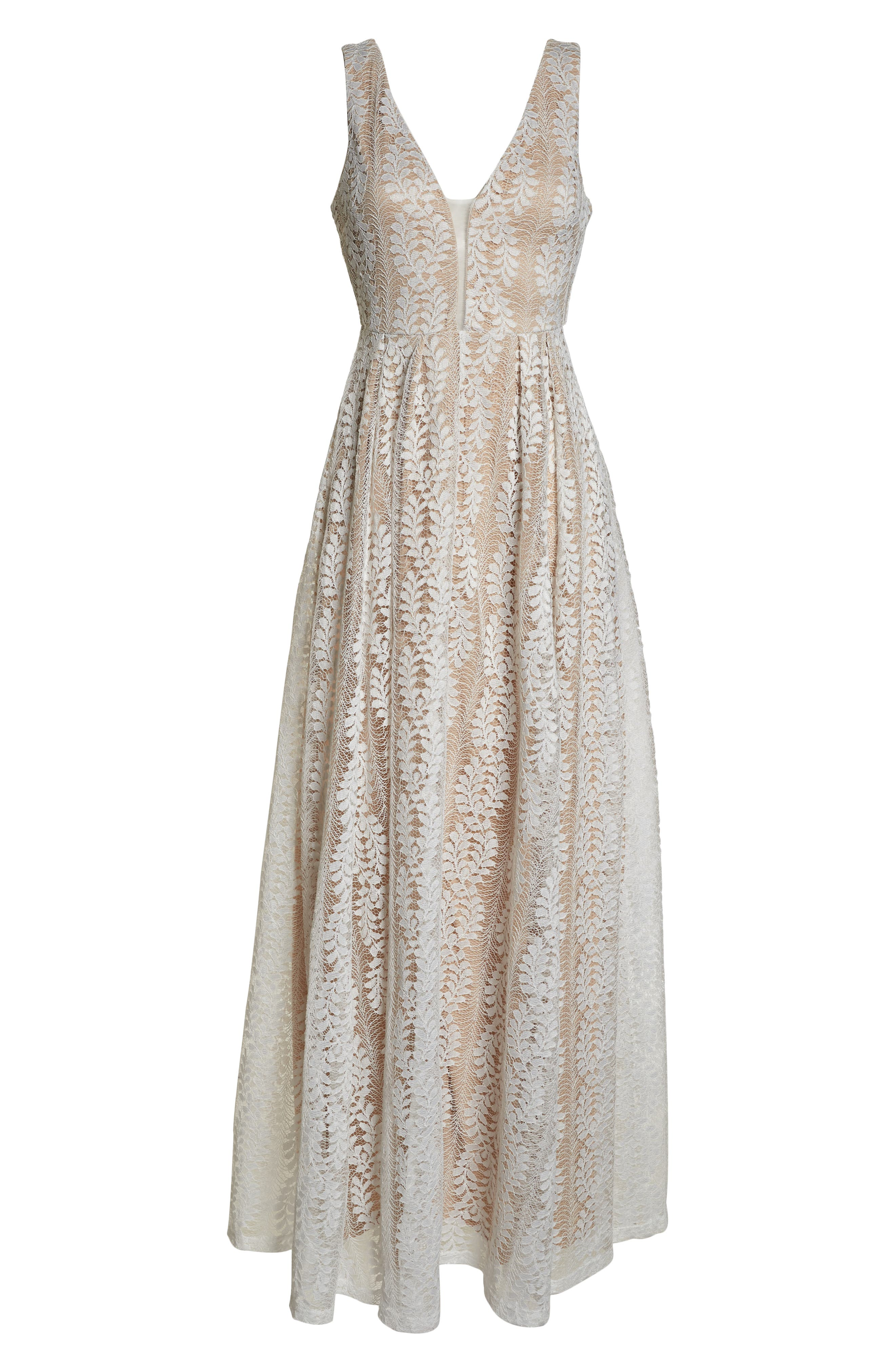 LULUS, Eliana Lace V-Neck Gown, Alternate thumbnail 7, color, WHITE/ NUDE