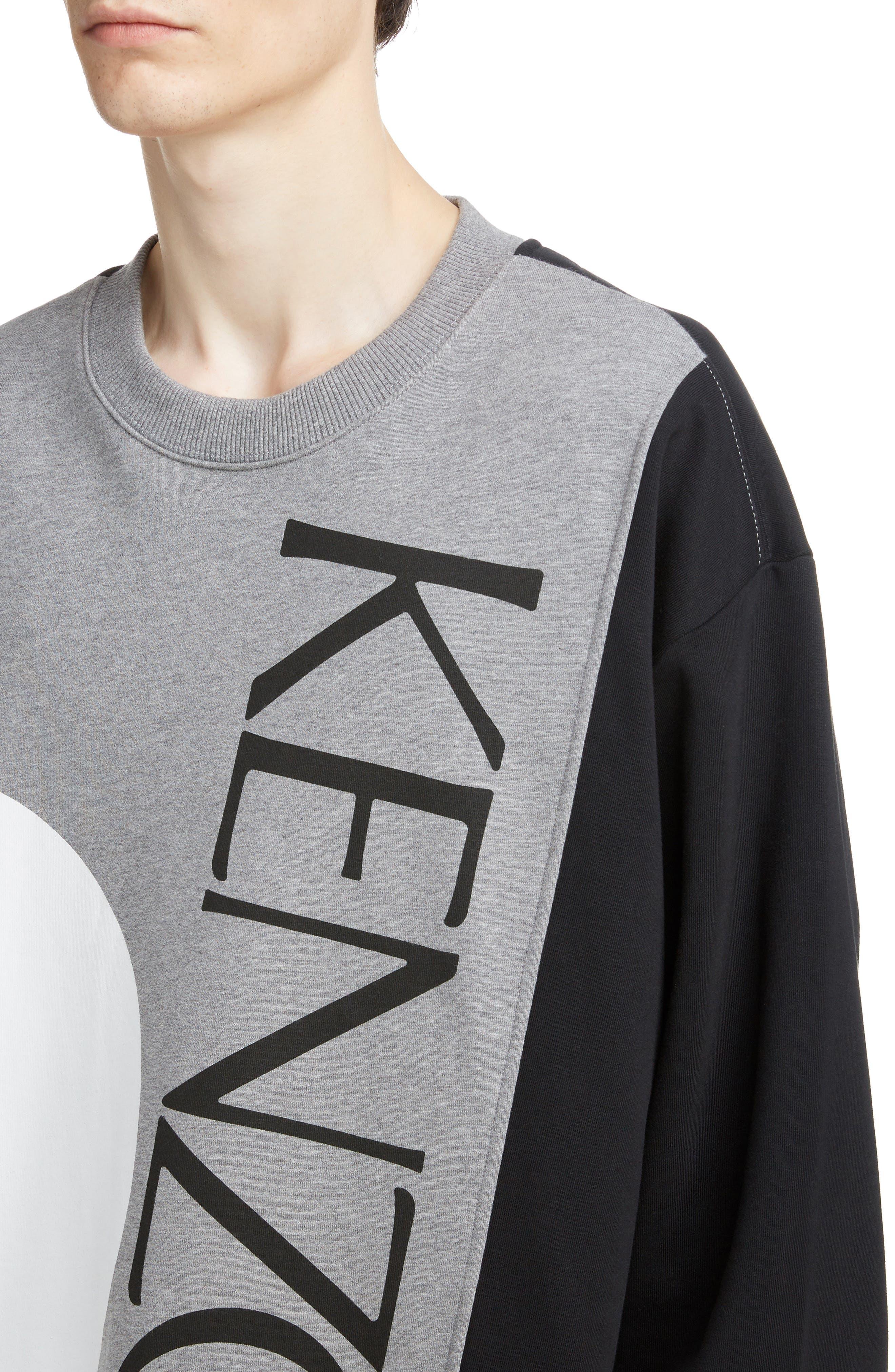 KENZO, Oversize Colorblock Sweatshirt, Alternate thumbnail 4, color, DOVE GREY