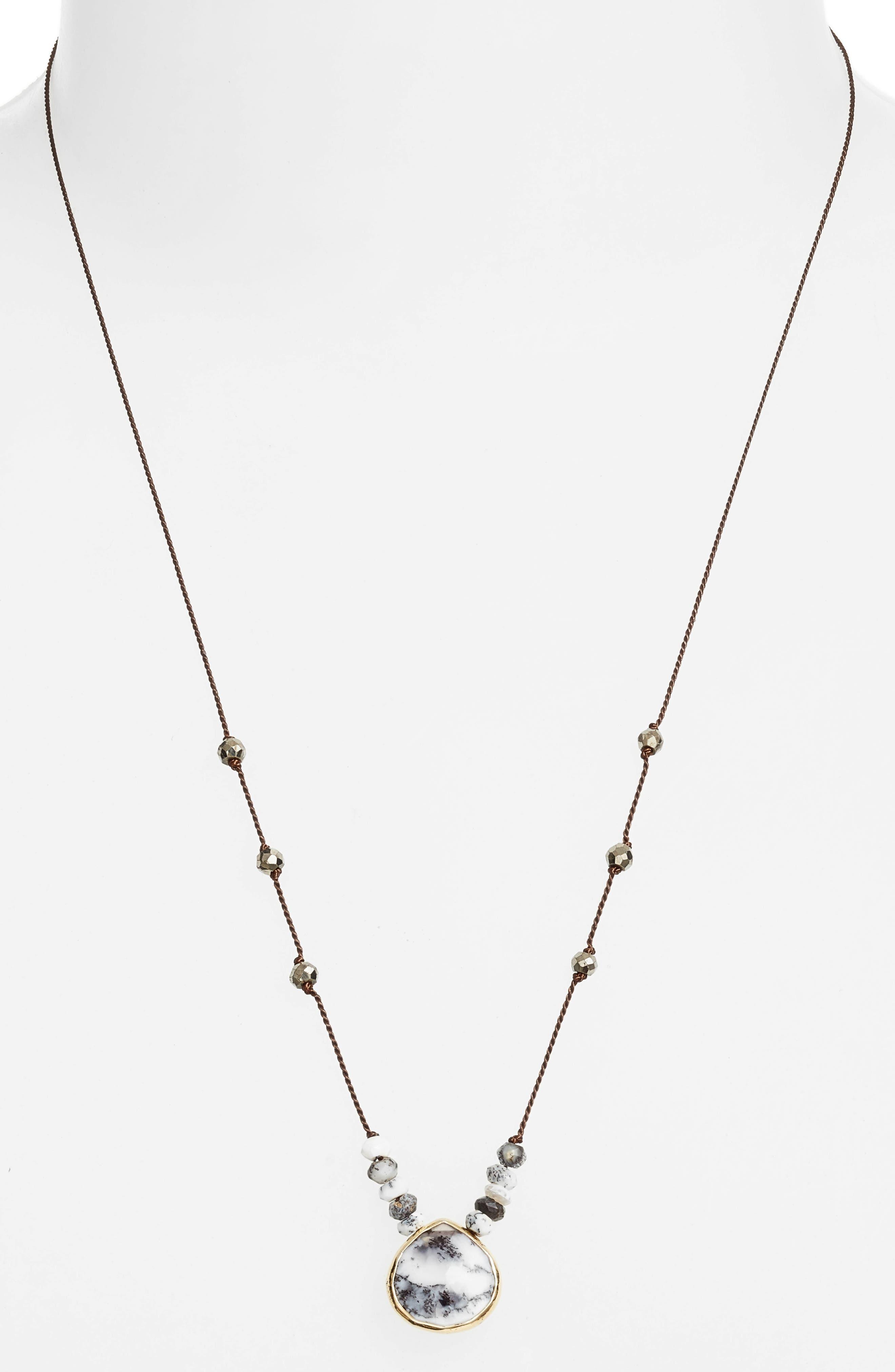 ELA RAE, Sylvie Semiprecious Stone Necklace, Alternate thumbnail 2, color, 406