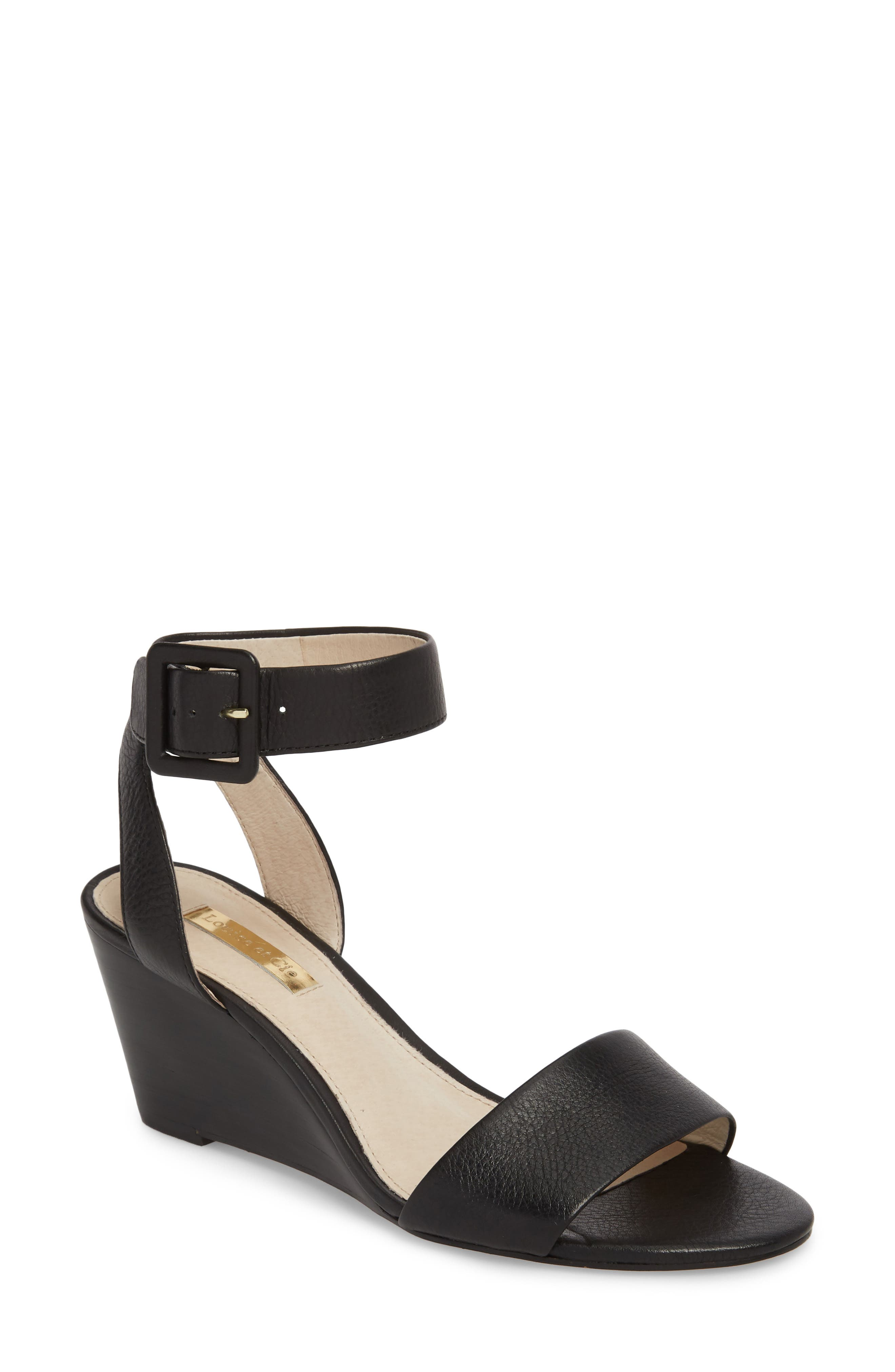 LOUISE ET CIE Punya Wedge Sandal, Main, color, BLACK LEATHER
