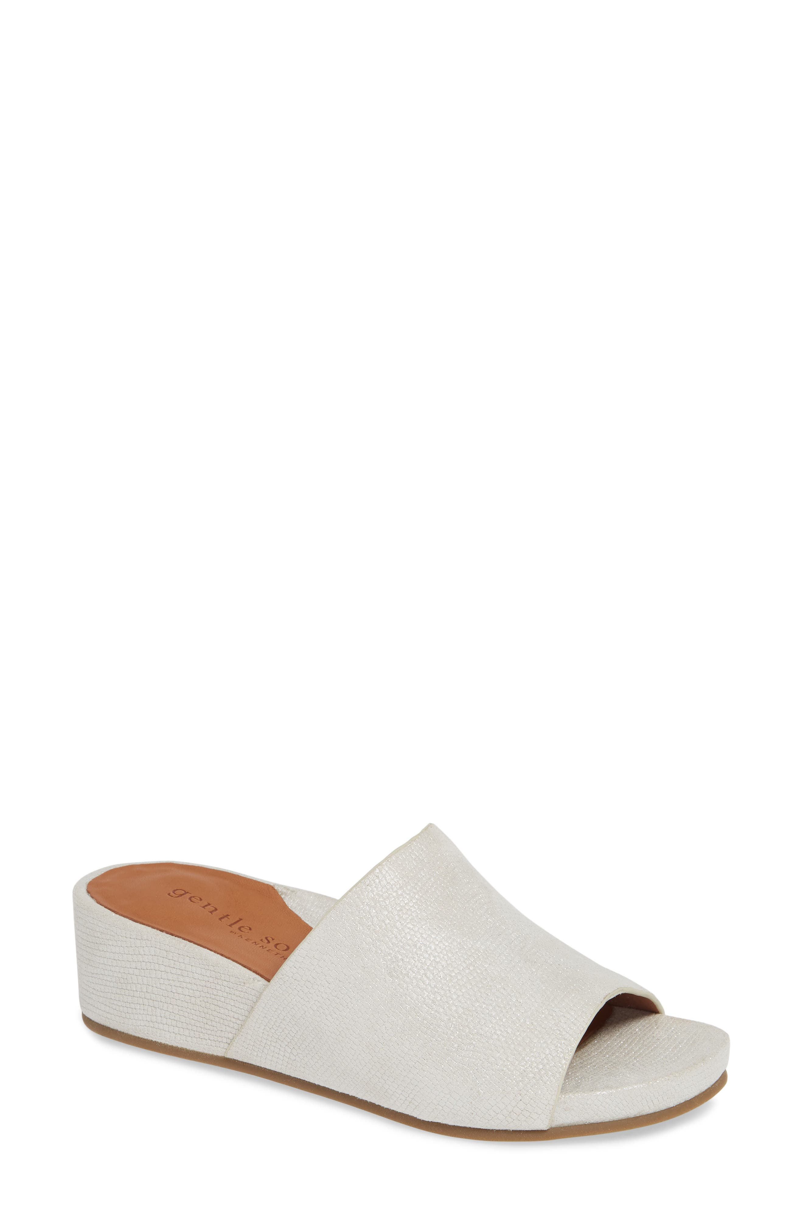 GENTLE SOULS BY KENNETH COLE, Gisele Wedge Slide Sandal, Main thumbnail 1, color, WHITE EMBOSSED LEATHER