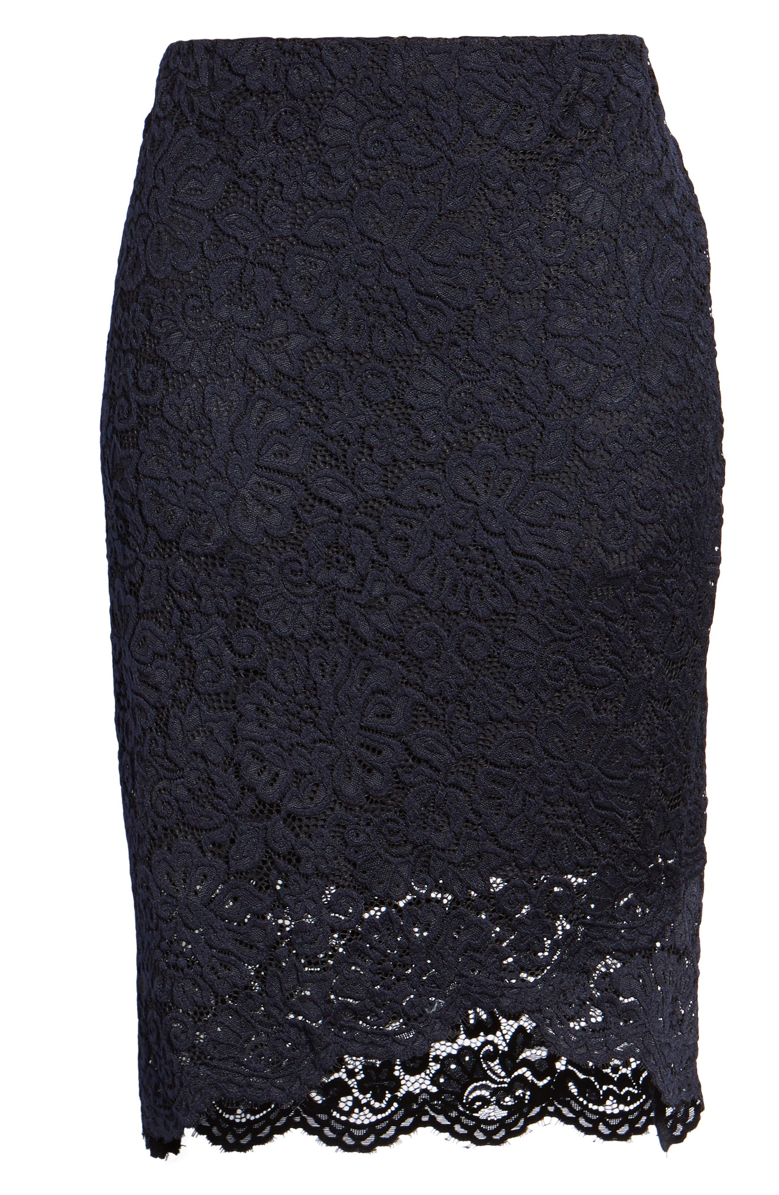 ROSEMUNDE, Lace Pencil Skirt, Alternate thumbnail 6, color, 001