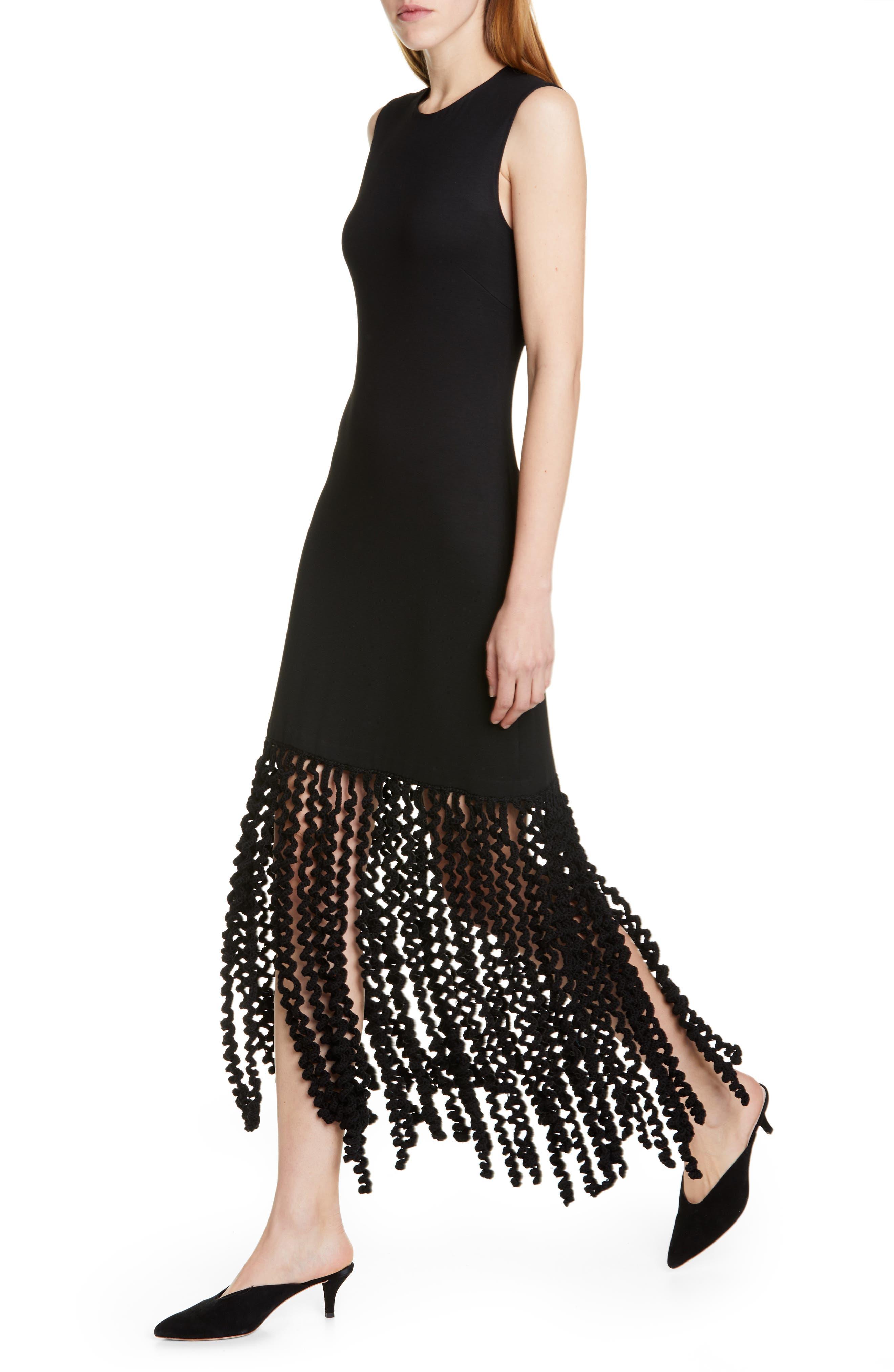 ROSETTA GETTY, Spiral Fringe Maxi Dress, Alternate thumbnail 4, color, BLACK