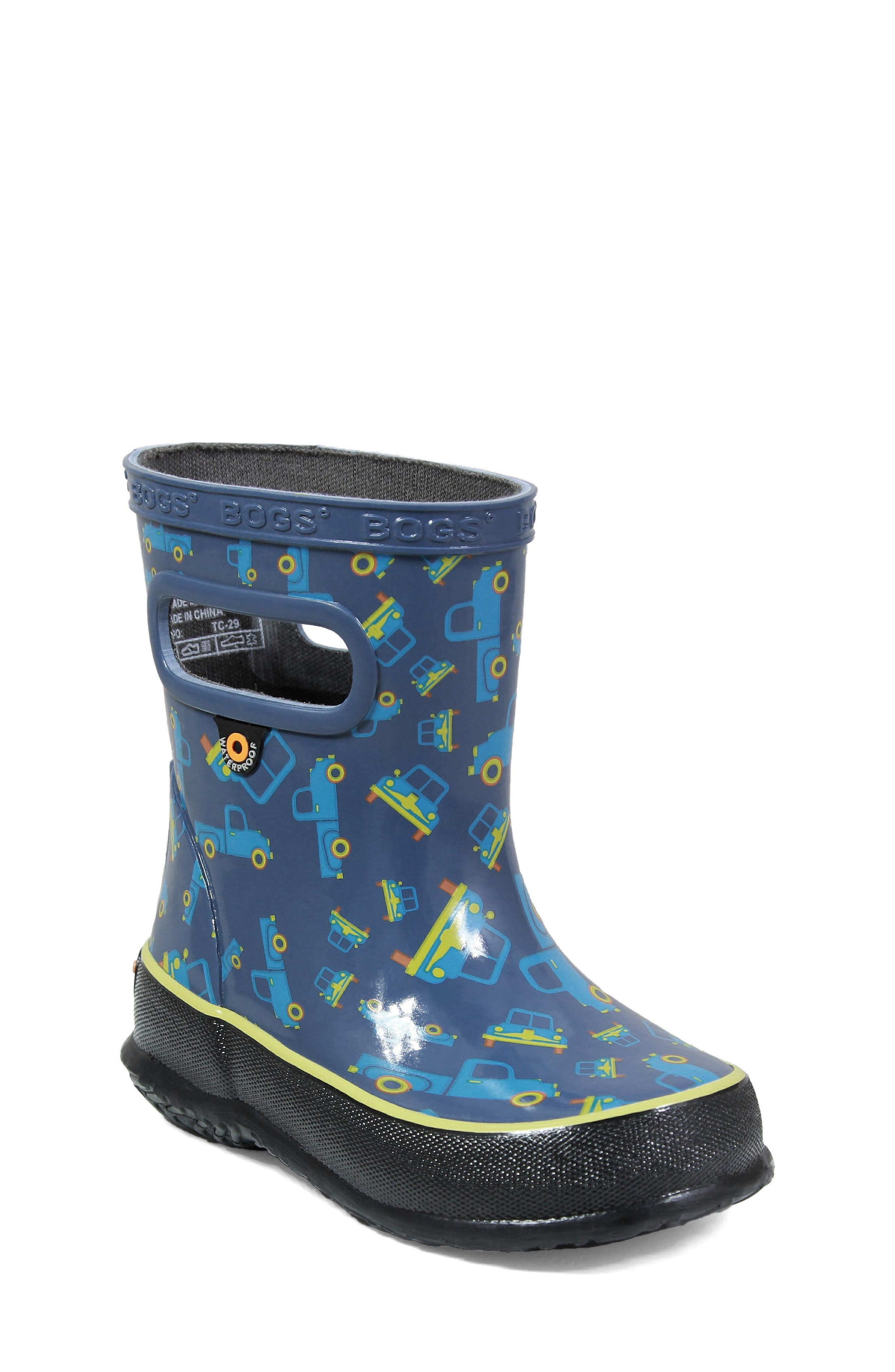 BOGS, Skipper Truck Print Rubber Rain Boot, Main thumbnail 1, color, 460