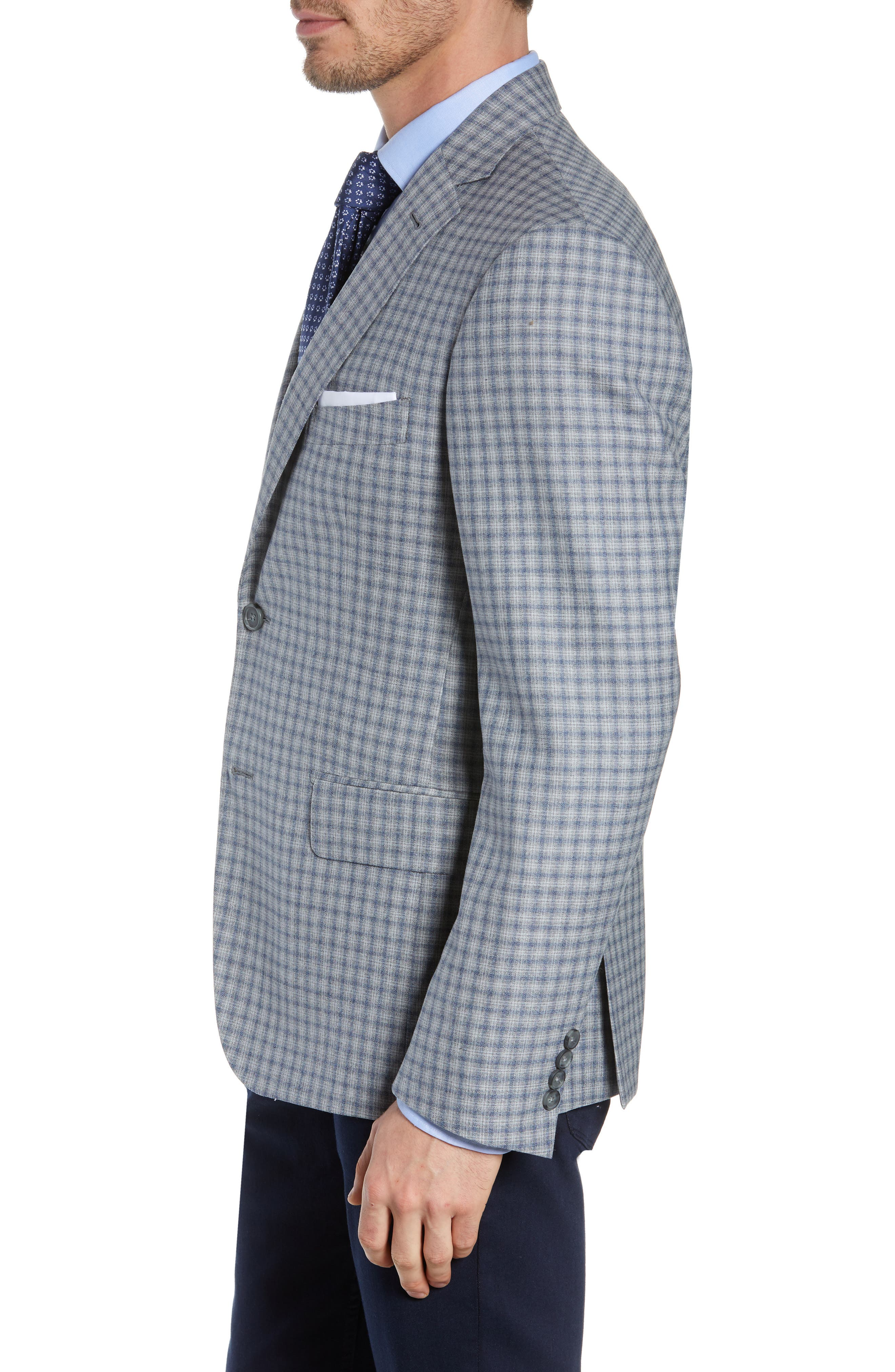 JOHN W. NORDSTROM<SUP>®</SUP>, Traditional Fit Plaid Wool Sport Coat, Alternate thumbnail 3, color, GREY FILIGREE BLUE CHECK