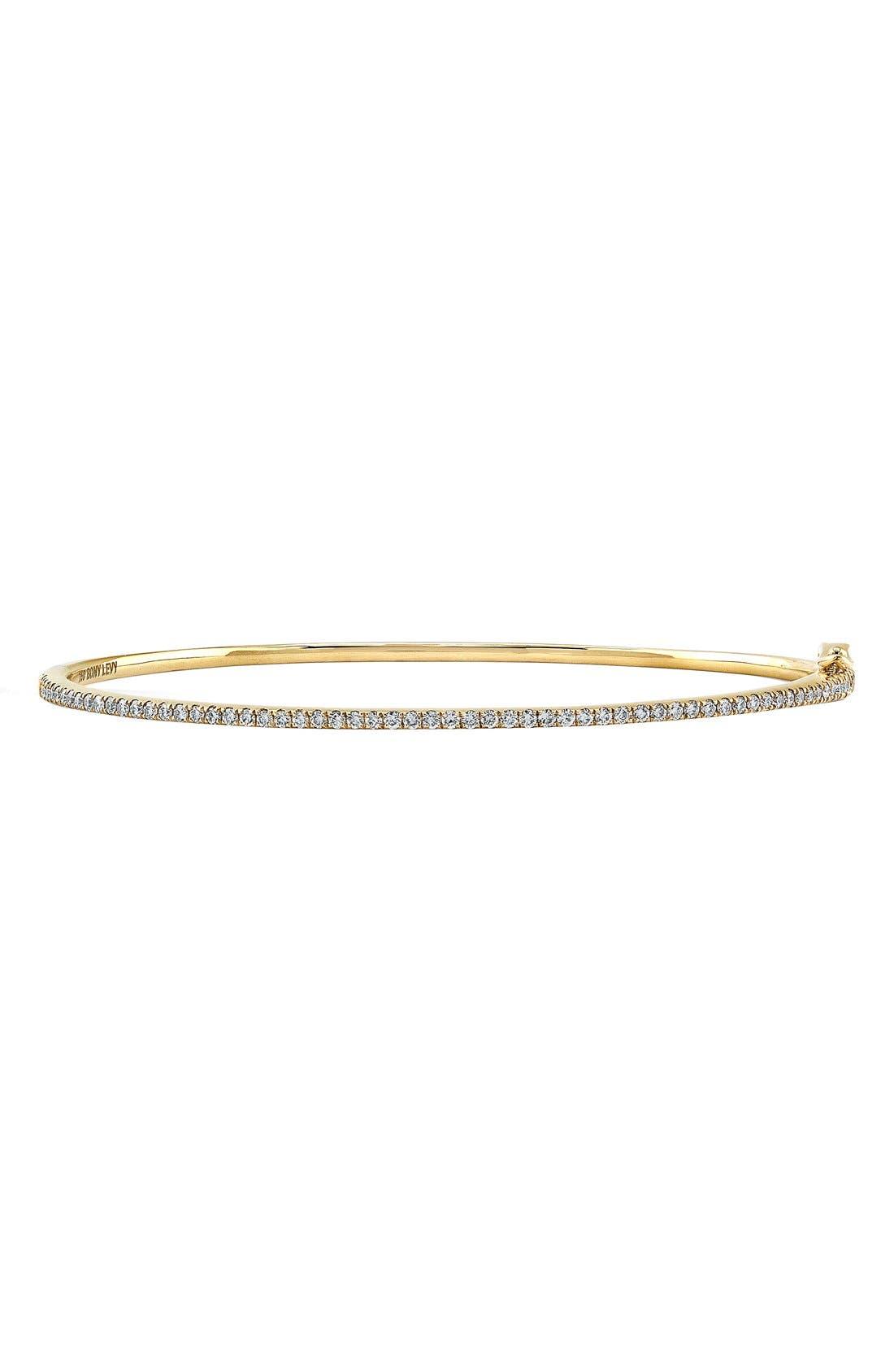BONY LEVY Skinny Stackable Diamond Bangle, Main, color, YELLOW GOLD