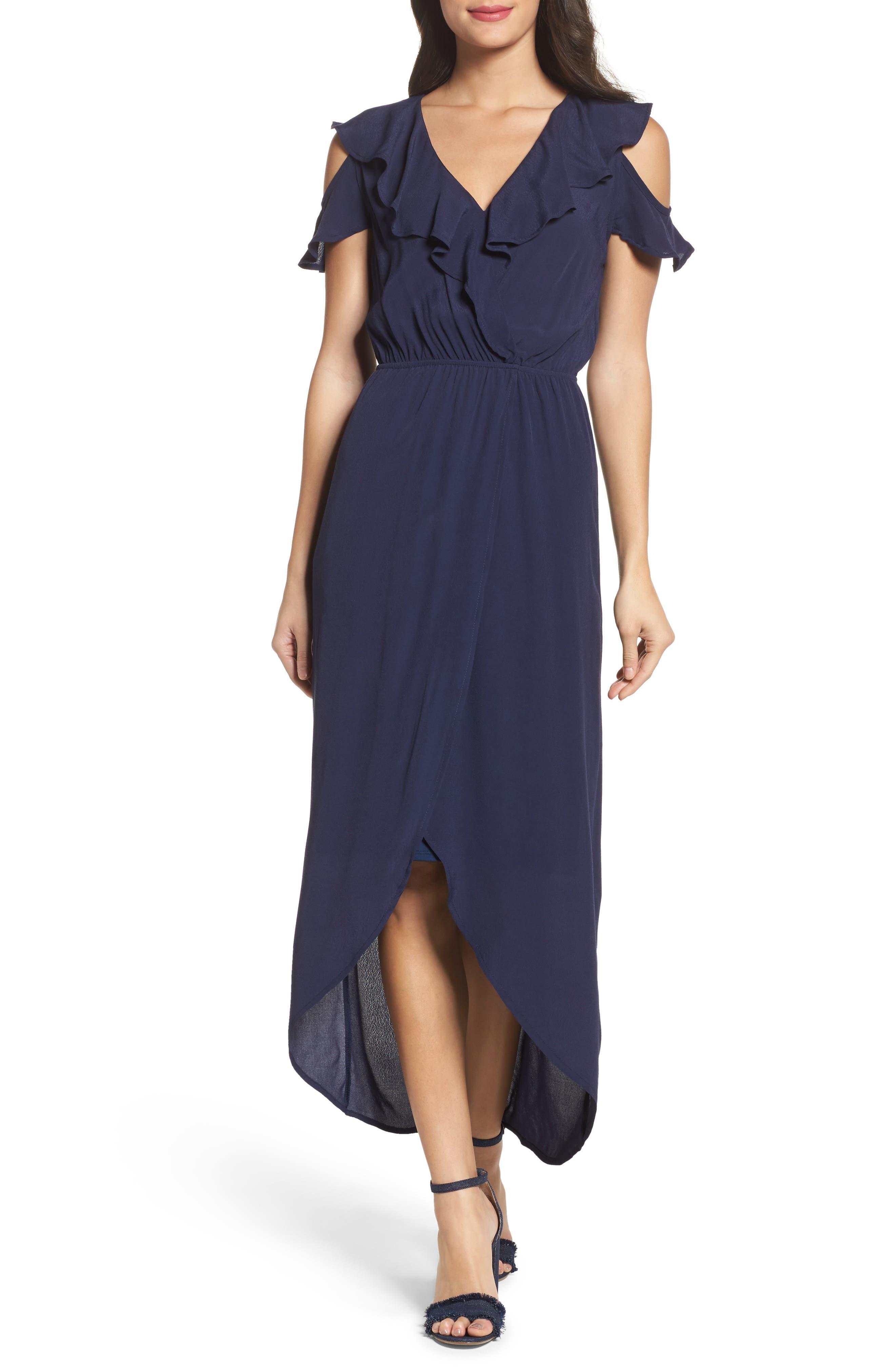 FRAICHE BY J, Cold Shoulder Maxi Dress, Main thumbnail 1, color, NAVY