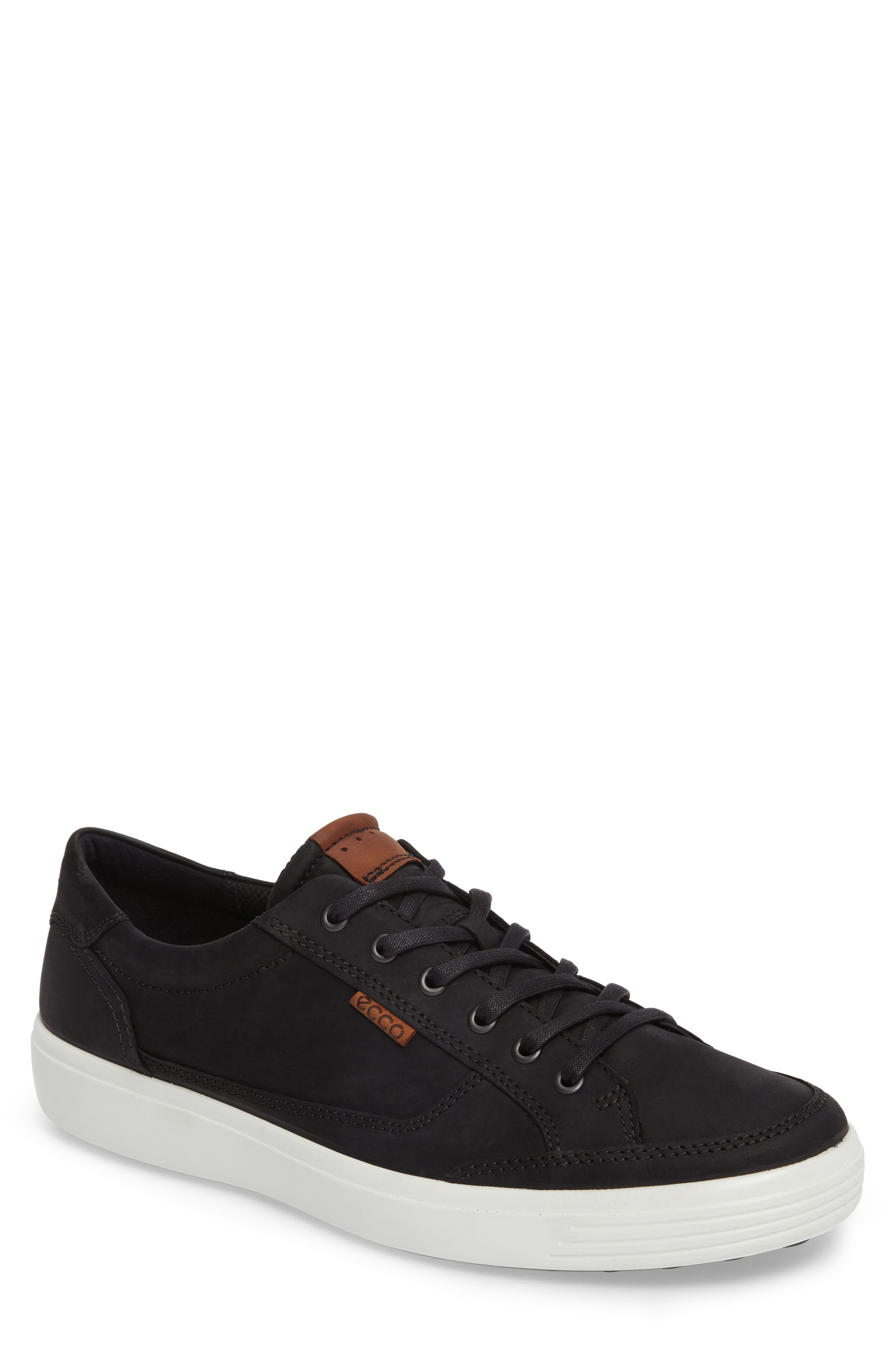 ECCO Soft 7 Long Lace Sneaker, Main, color, BLACK LEATHER