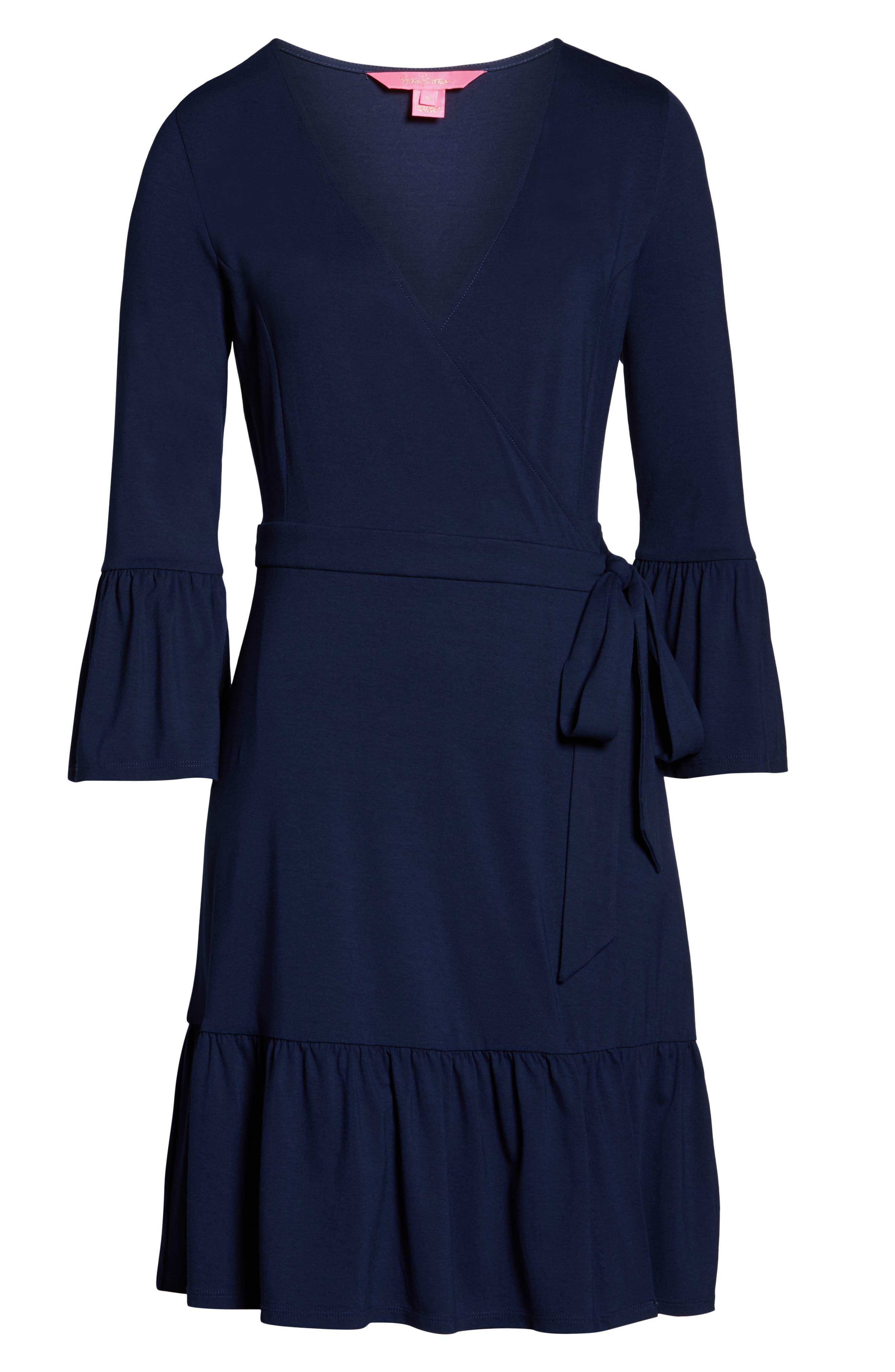LILLY PULITZER<SUP>®</SUP>, Misha Wrap Dress, Alternate thumbnail 6, color, TRUE NAVY
