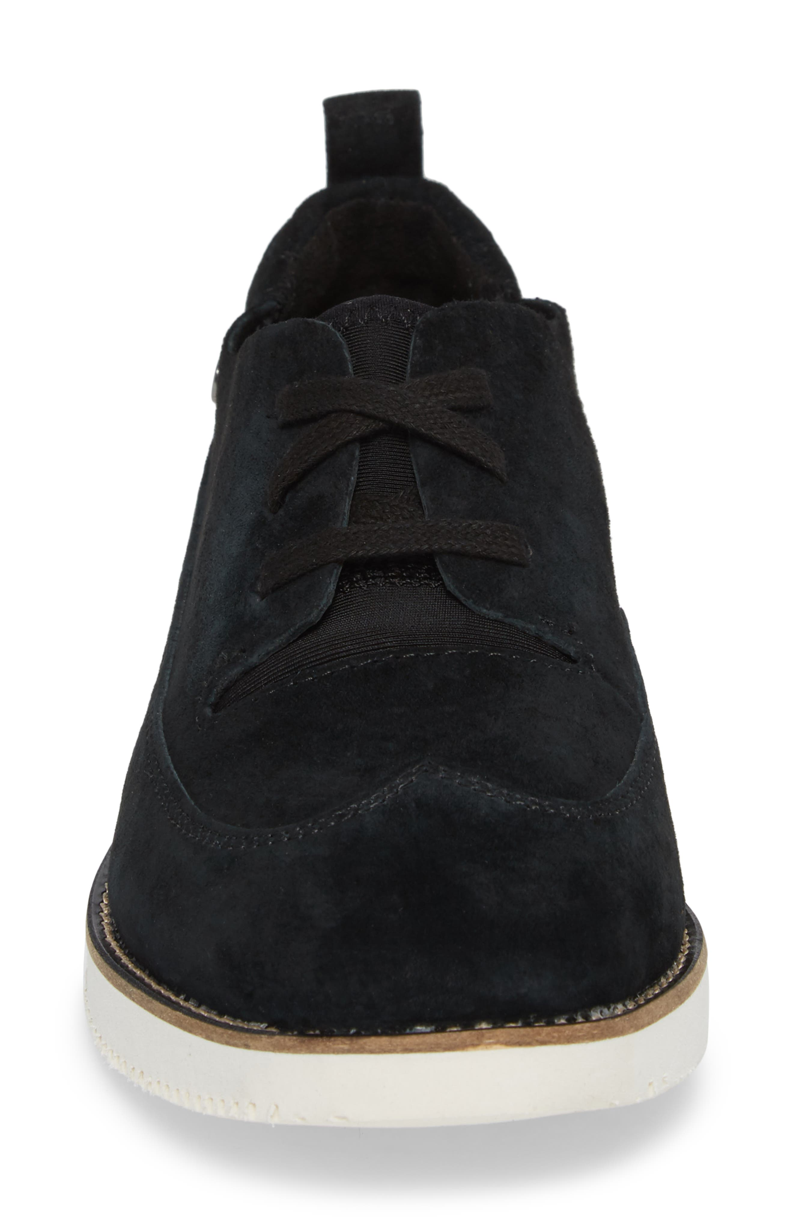 HUSH PUPPIES<SUP>®</SUP>, Chowchow Oxford, Alternate thumbnail 4, color, BLACK SUEDE