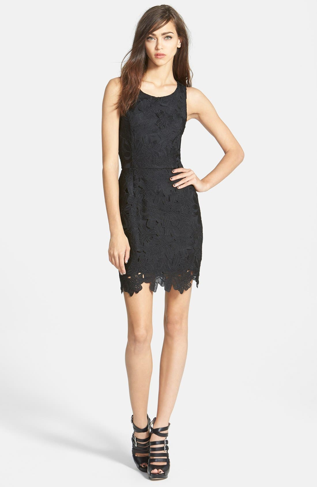 ASTR THE LABEL Textured Floral Body-Con Dress, Main, color, 001