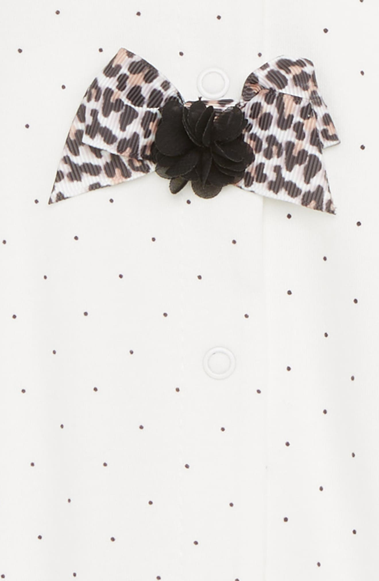 LITTLE ME, Leopard Bows Footie, Alternate thumbnail 2, color, MARSHMALLOW/ BLACK