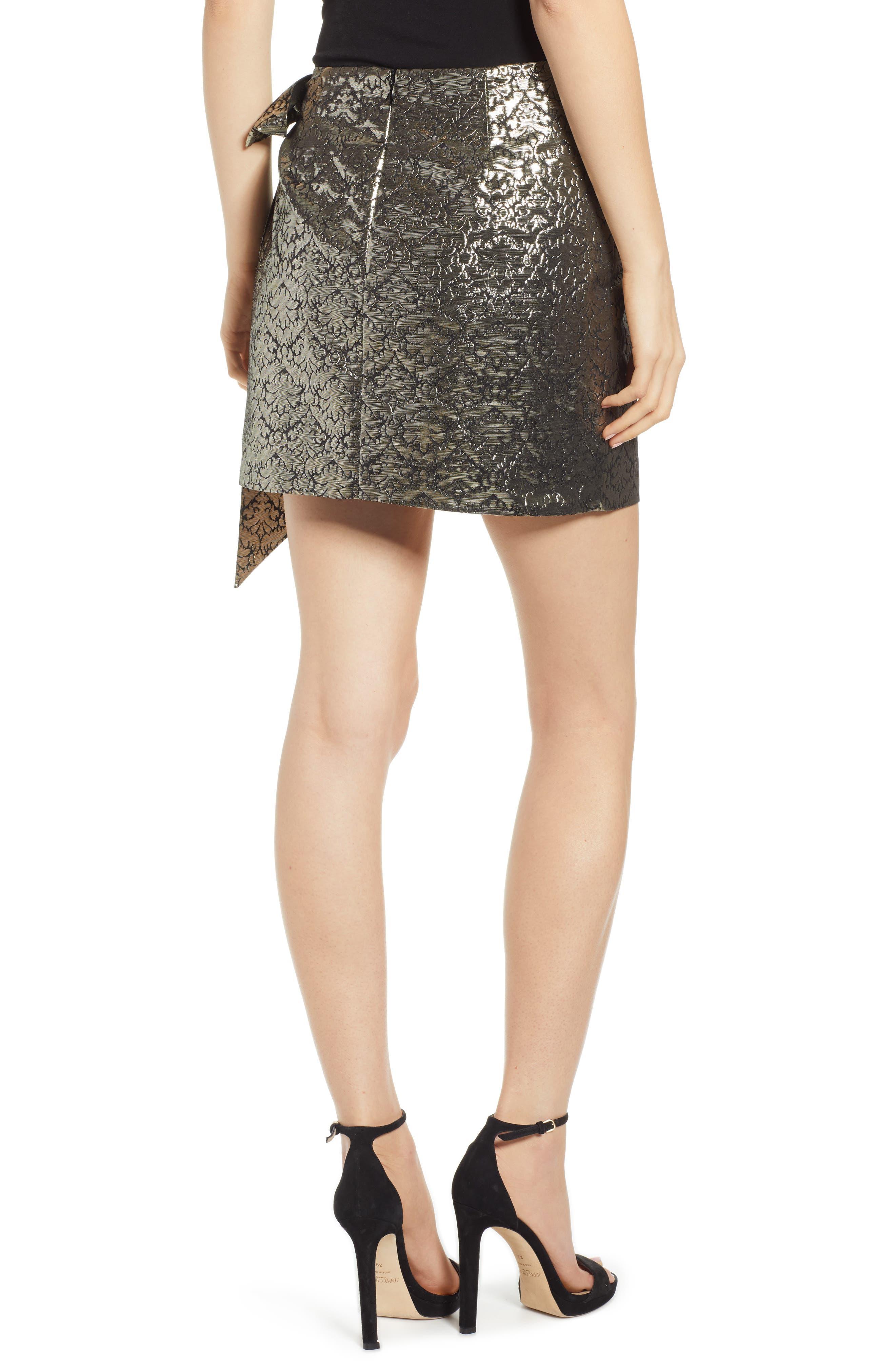 REBECCA MINKOFF, Augustina Shimmering Jacquard Faux Wrap Skirt, Alternate thumbnail 2, color, 710