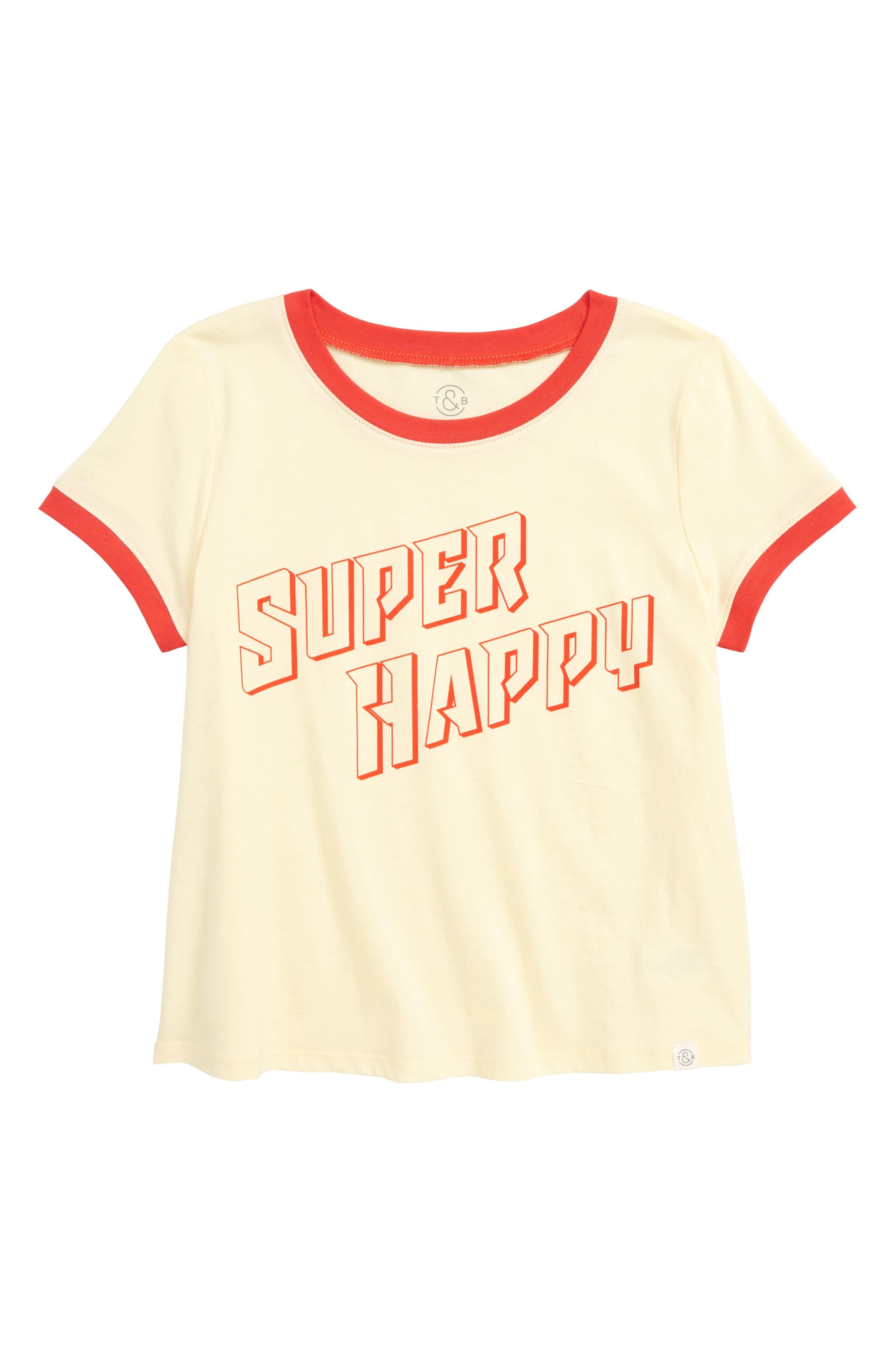 TREASURE & BOND, Ringer Tee, Main thumbnail 1, color, YELLOW CLOVER SUPER HAPPY