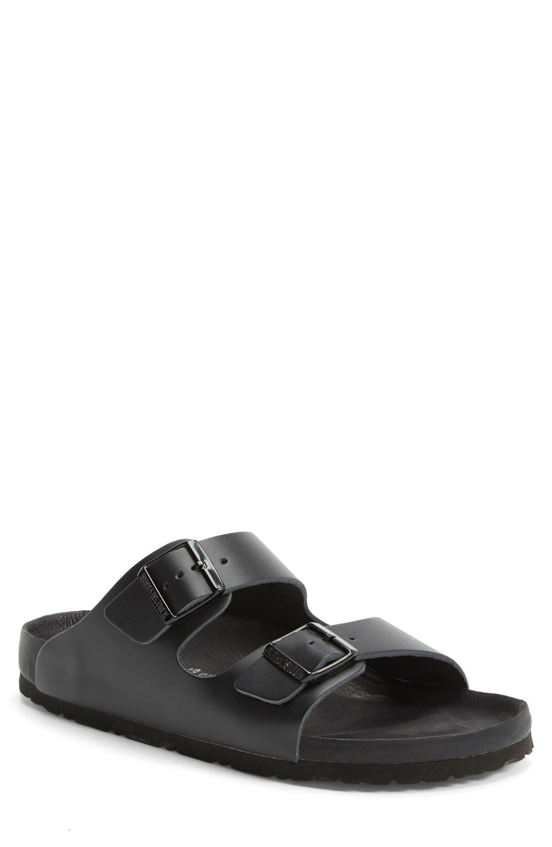 BIRKENSTOCK Monterey Leather Slide Sandal, Main, color, BLACK