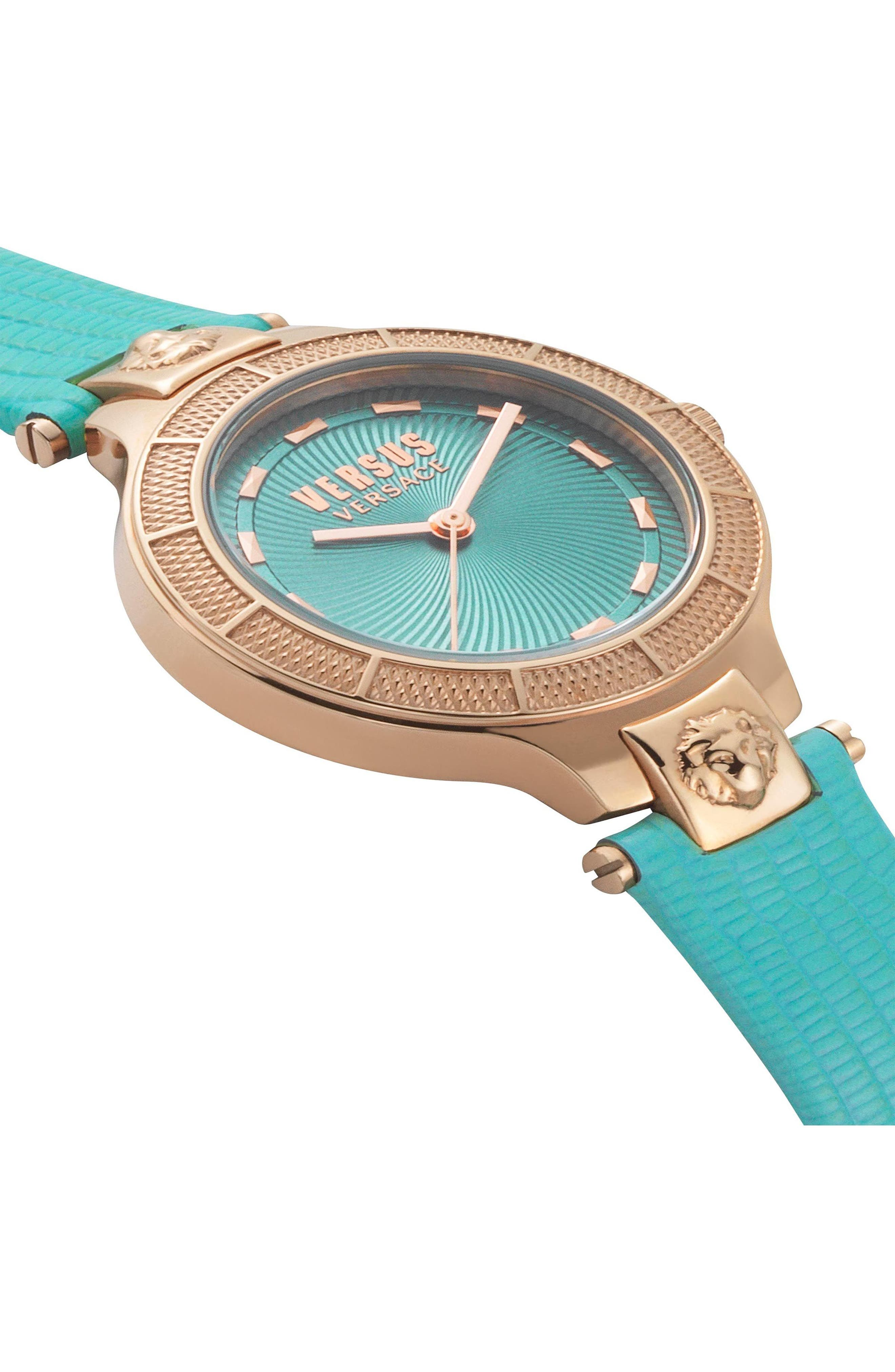 VERSUS VERSACE, Claremont Leather Strap Watch, 32mm, Alternate thumbnail 3, color, GREEN/ ROSE GOLD