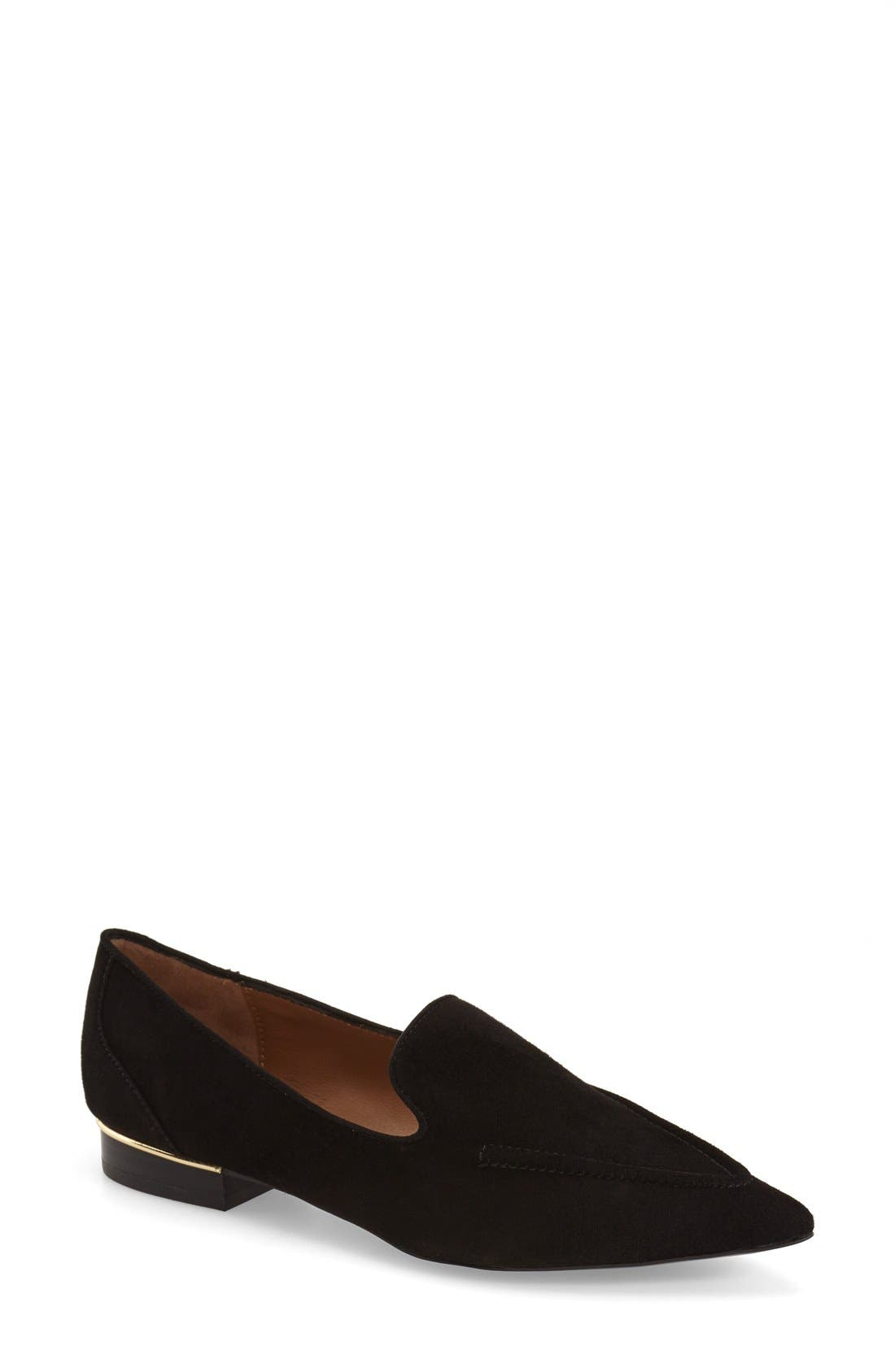 TOPSHOP, 'Kindred' Pointy Toe Loafer, Main thumbnail 1, color, 001