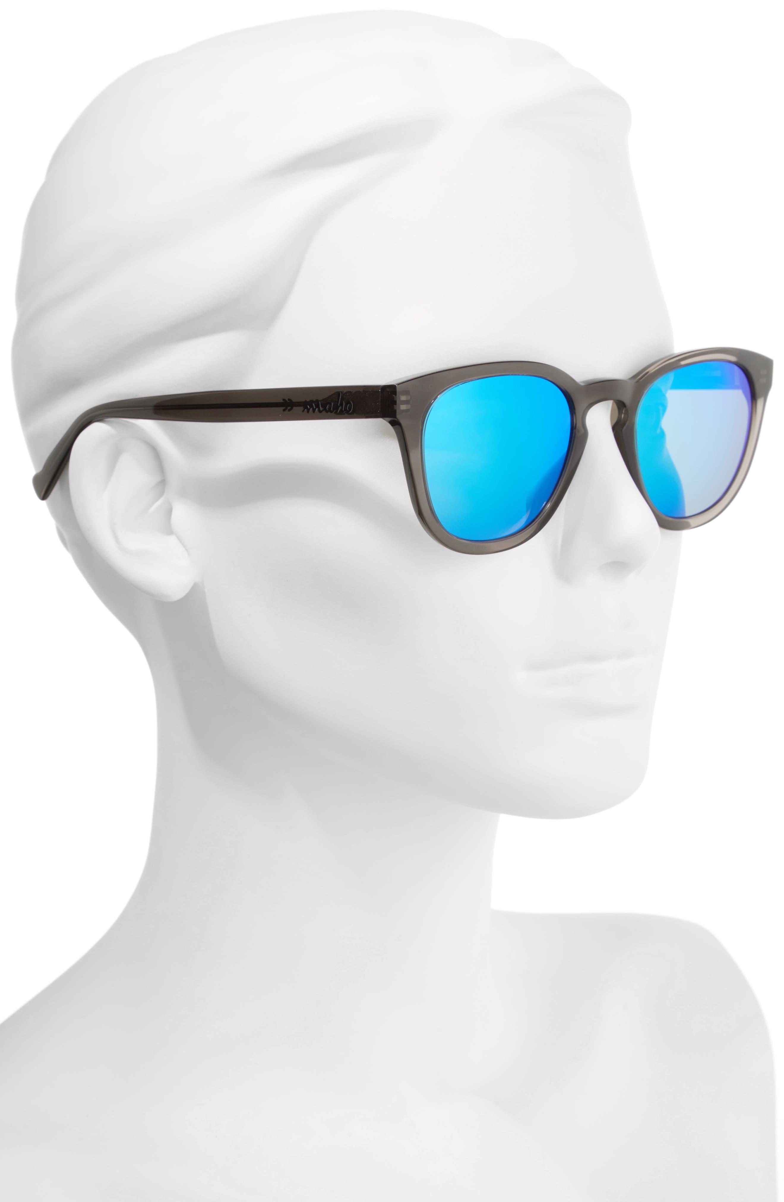 MAHO, Capetown 50mm Polarized Round Sunglasses, Alternate thumbnail 2, color, SLATE