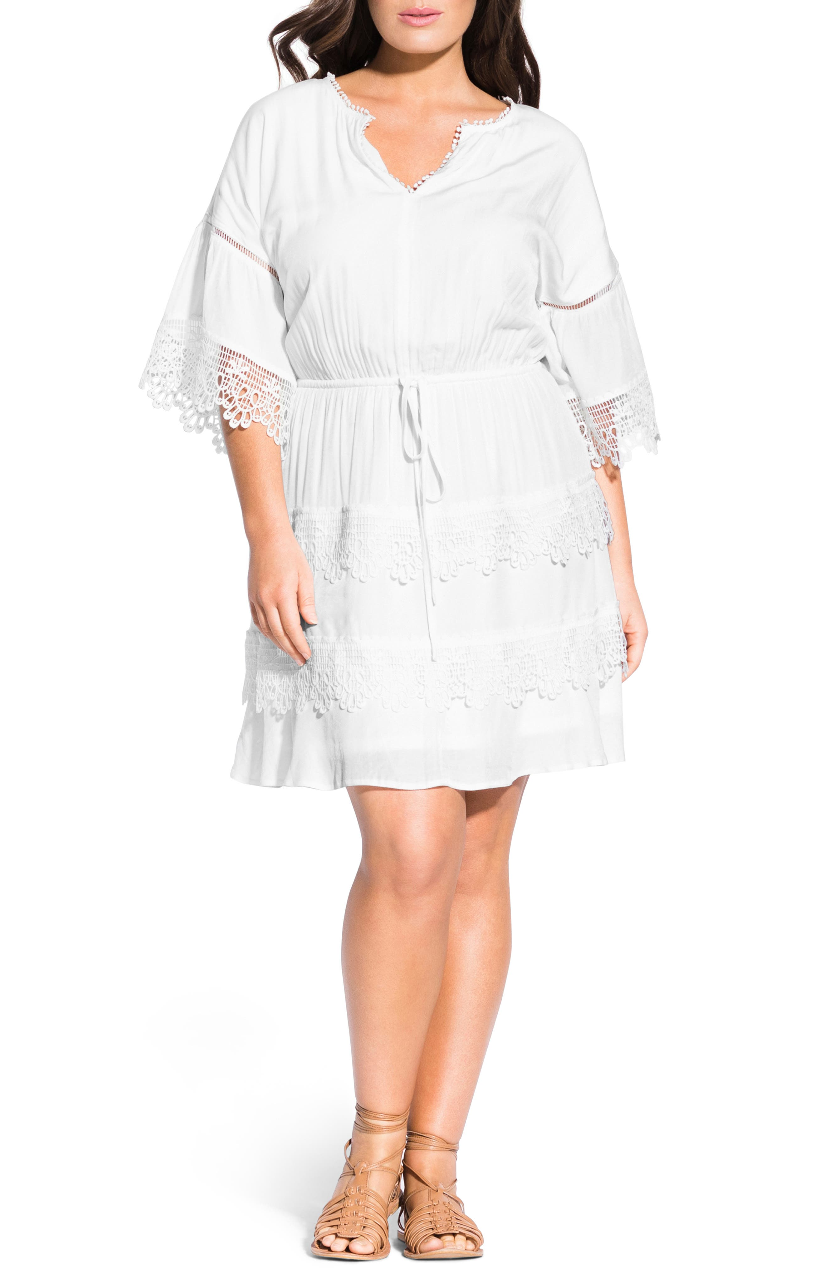 Plus Size City Chic Crochet Trim Tunic Dress, Ivory