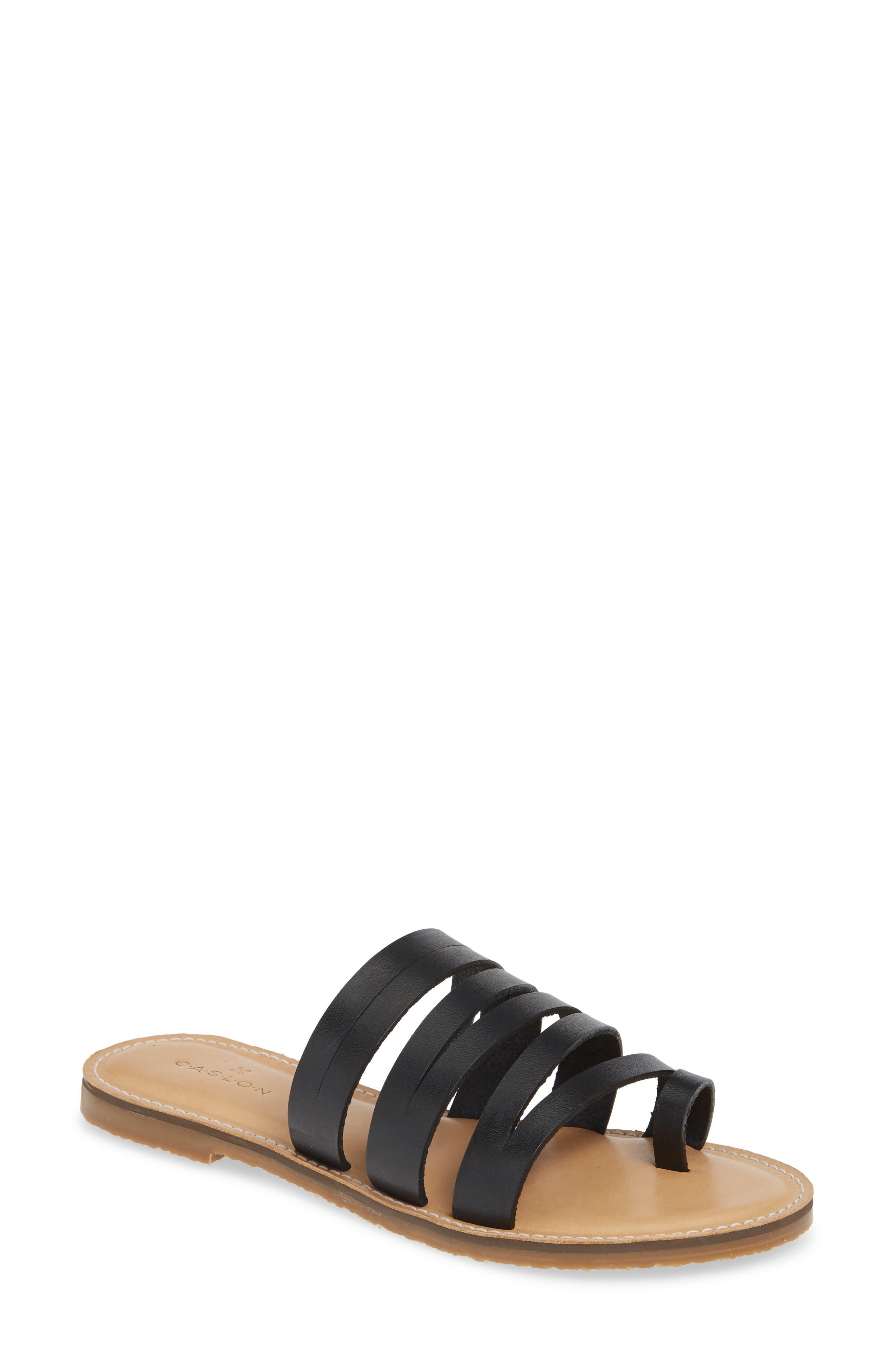 CASLON<SUP>®</SUP> Owen Slide Sandal, Main, color, BLACK LEATHER