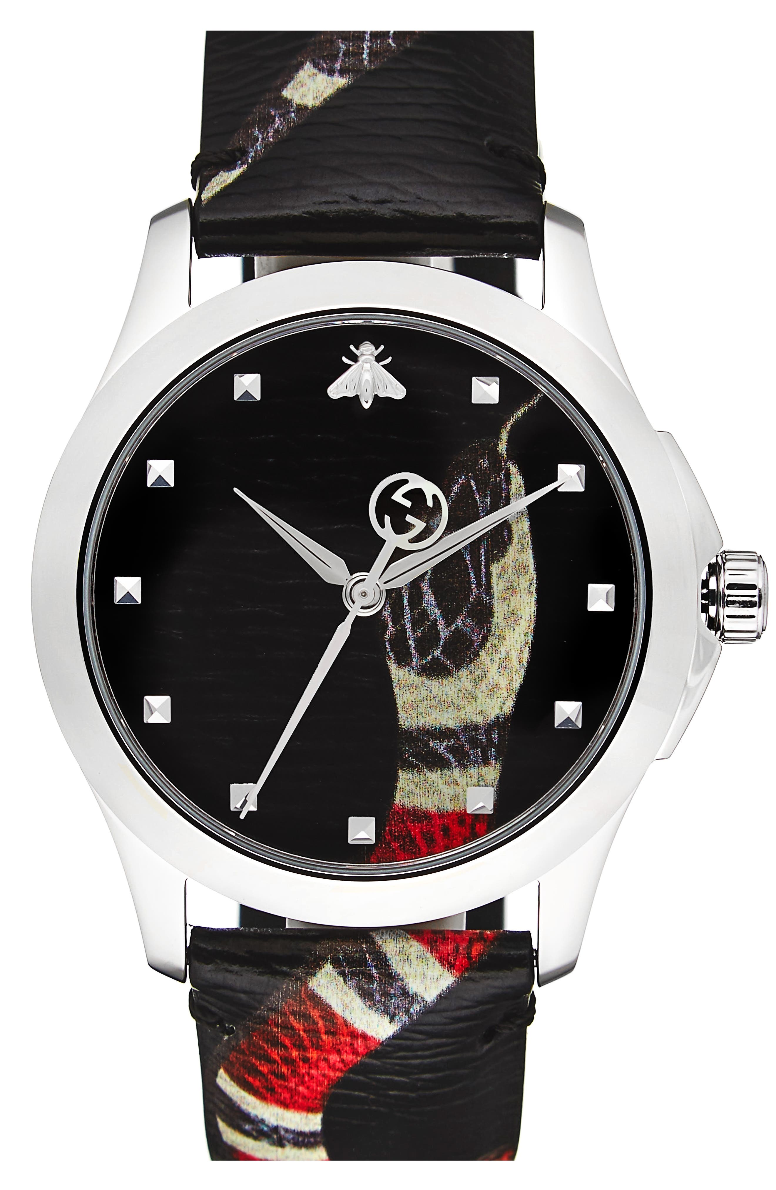 GUCCI, Snake Insignia Leather Strap Watch, 40mm, Main thumbnail 1, color, BLACK