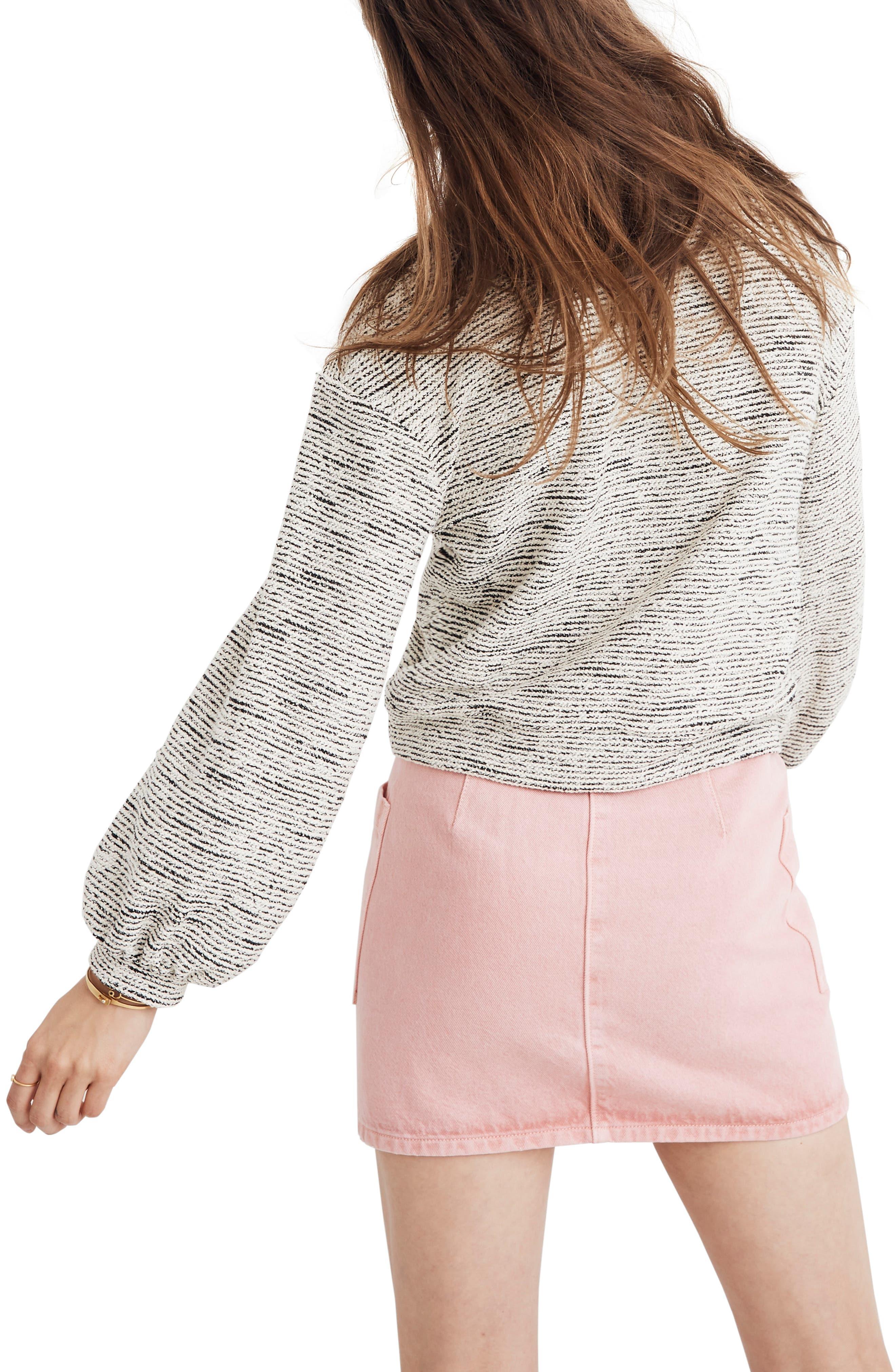 MADEWELL, Texture & Thread Bubble Sleeve Sweatshirt, Alternate thumbnail 2, color, HEATHER GREY