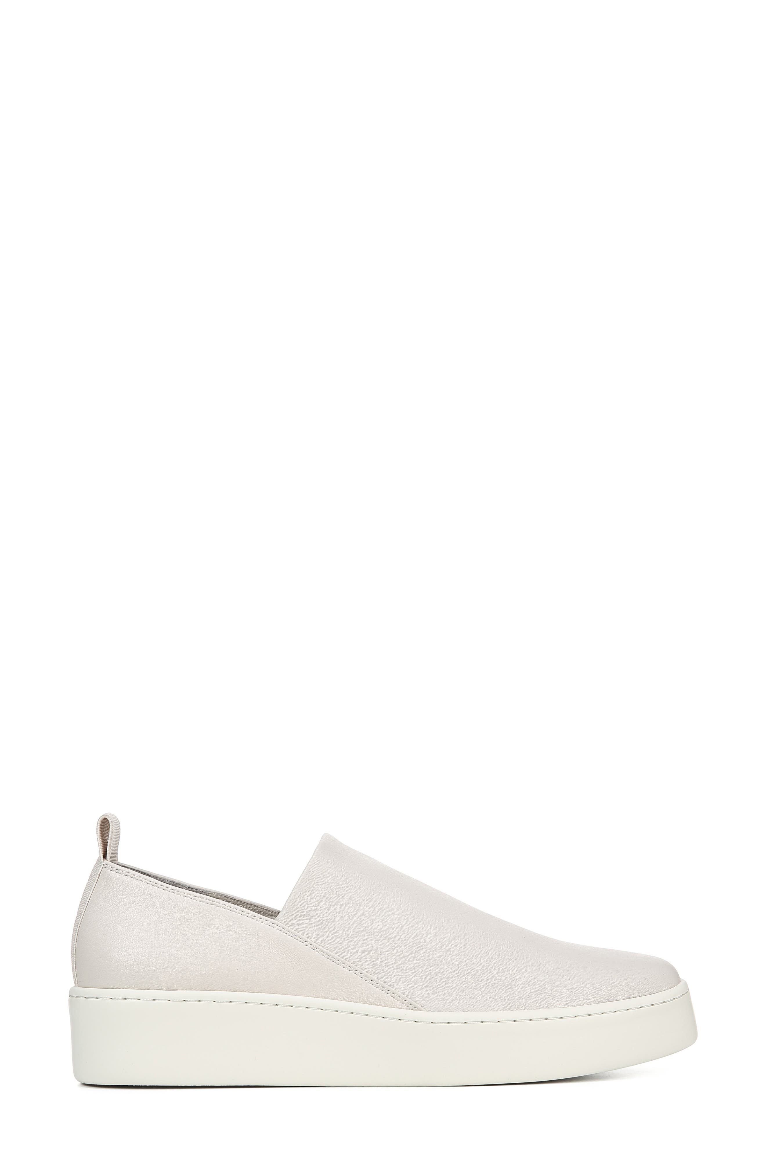 VINCE, Saxon Slip-On Sneaker, Alternate thumbnail 3, color, BONE THIN STRETCH NAPPA