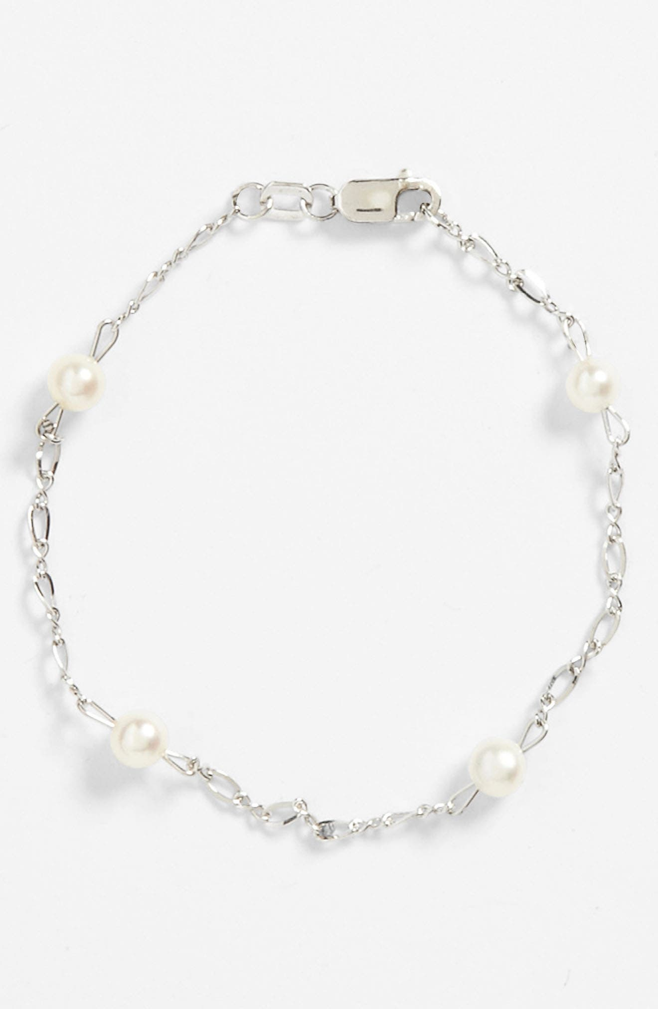 MIGNONETTE, Sterling Silver & Cultured Pearl Bracelet, Alternate thumbnail 2, color, 100