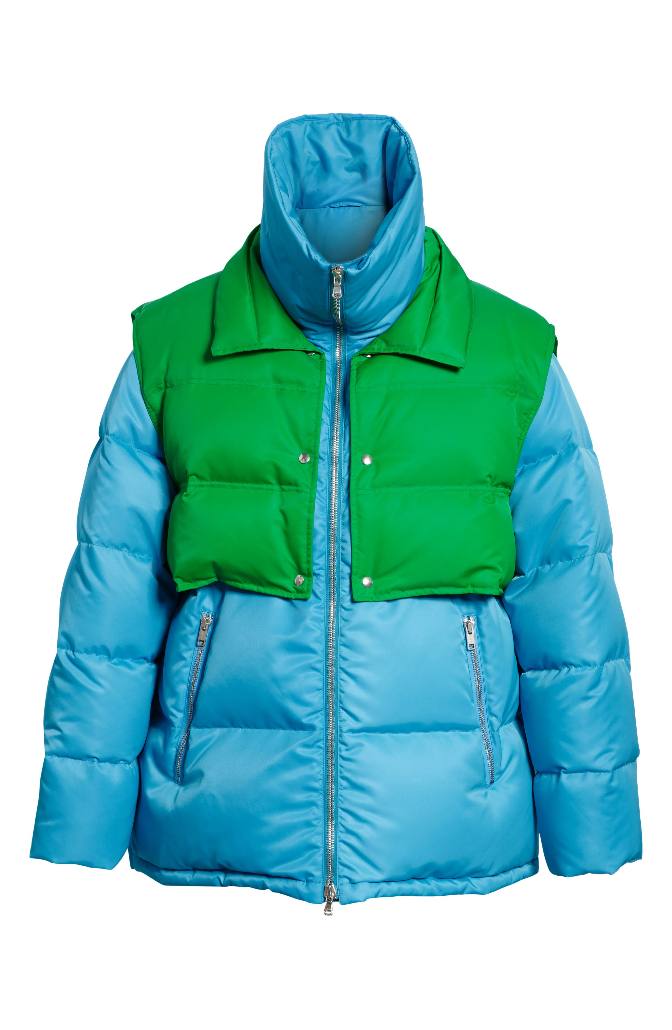 CALVIN KLEIN 205W39NYC, Water Repellent Quilted Puffer Jacket, Alternate thumbnail 5, color, RIVIERA BLUE SPRING GREEN