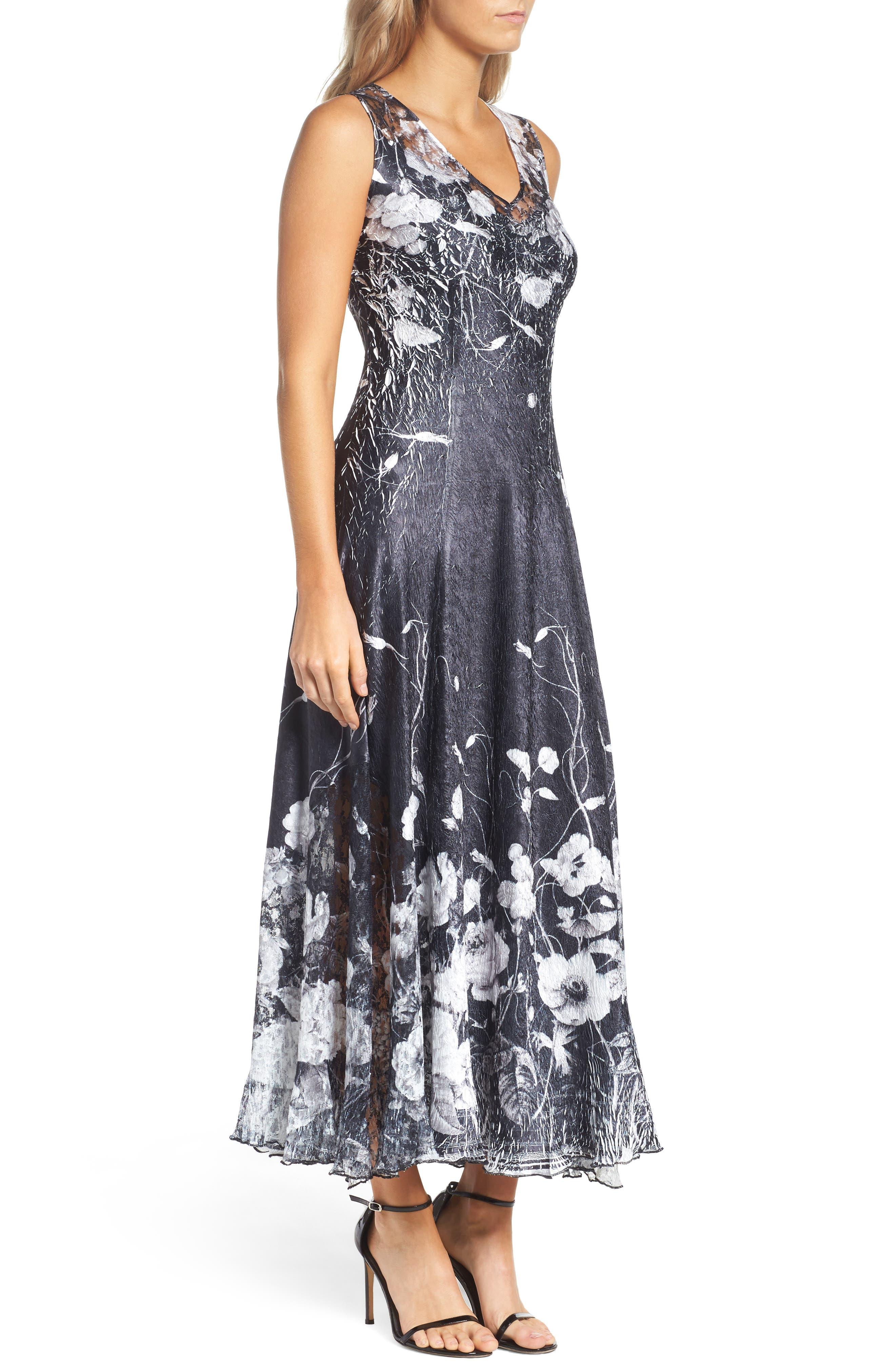 KOMAROV, Lace-Up Back Maxi Dress with Wrap, Alternate thumbnail 4, color, 001