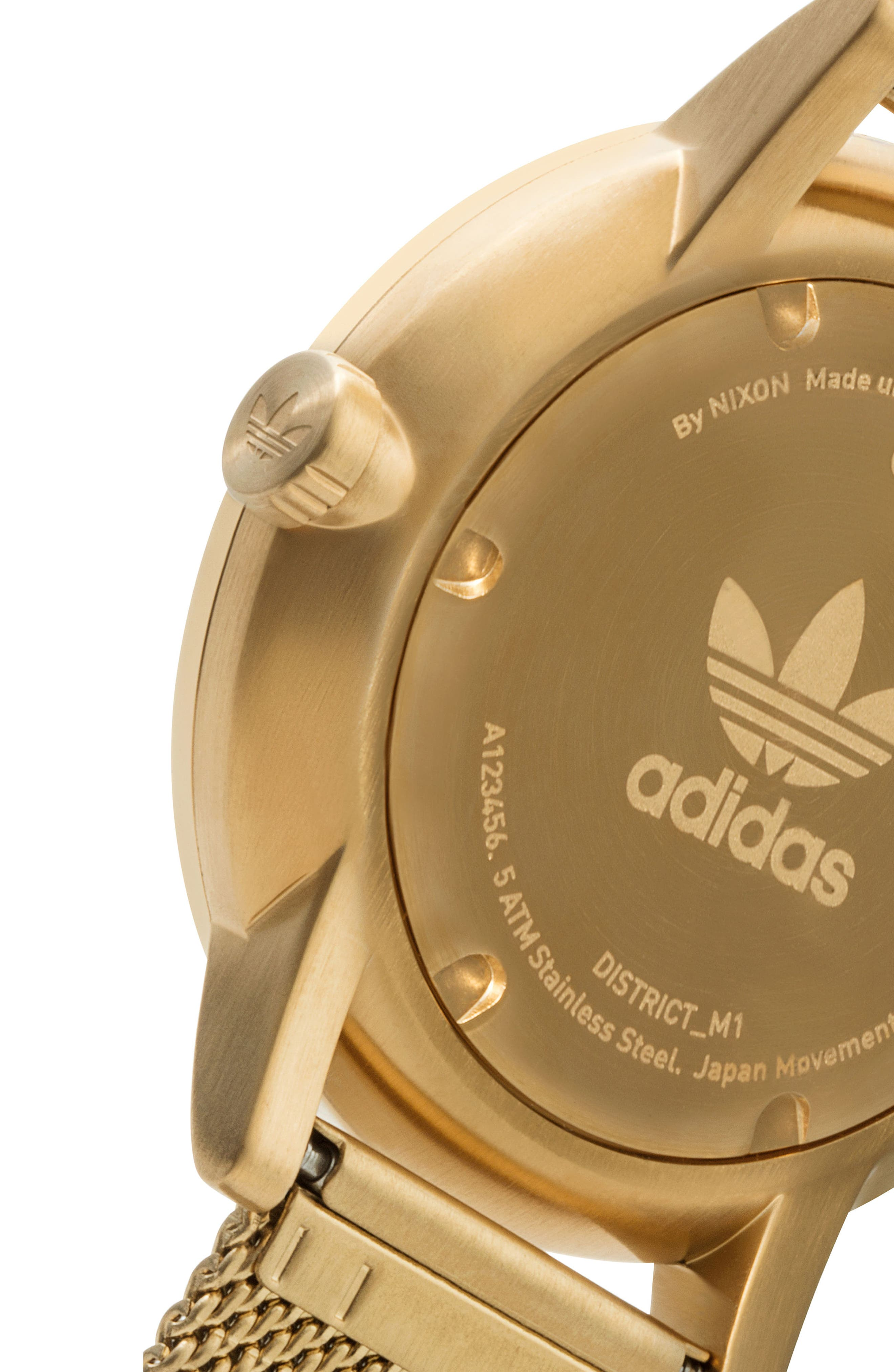 ADIDAS, District Milanese Bracelet Watch, 40mm, Alternate thumbnail 4, color, GOLD/ BLACK